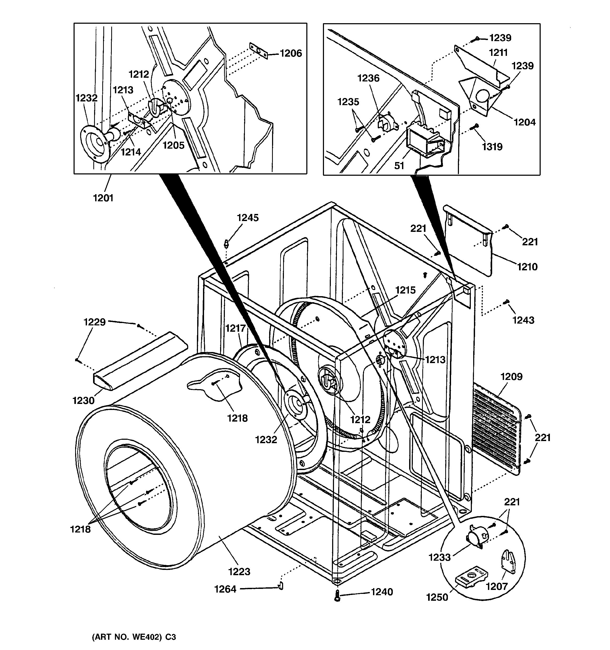 assembly view for cabinet  u0026 drum