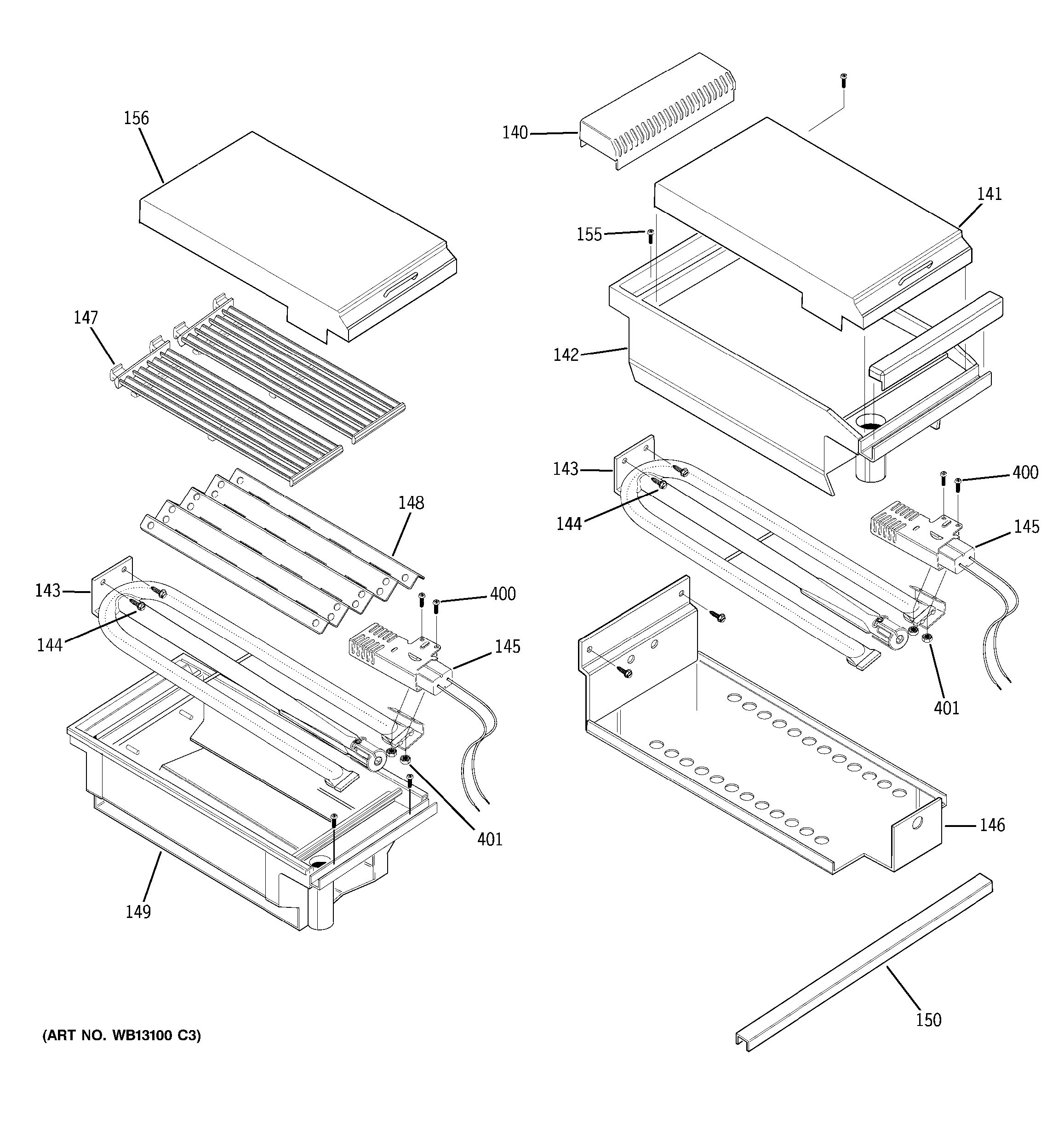 assembly view for grill  u0026 griddle assembly