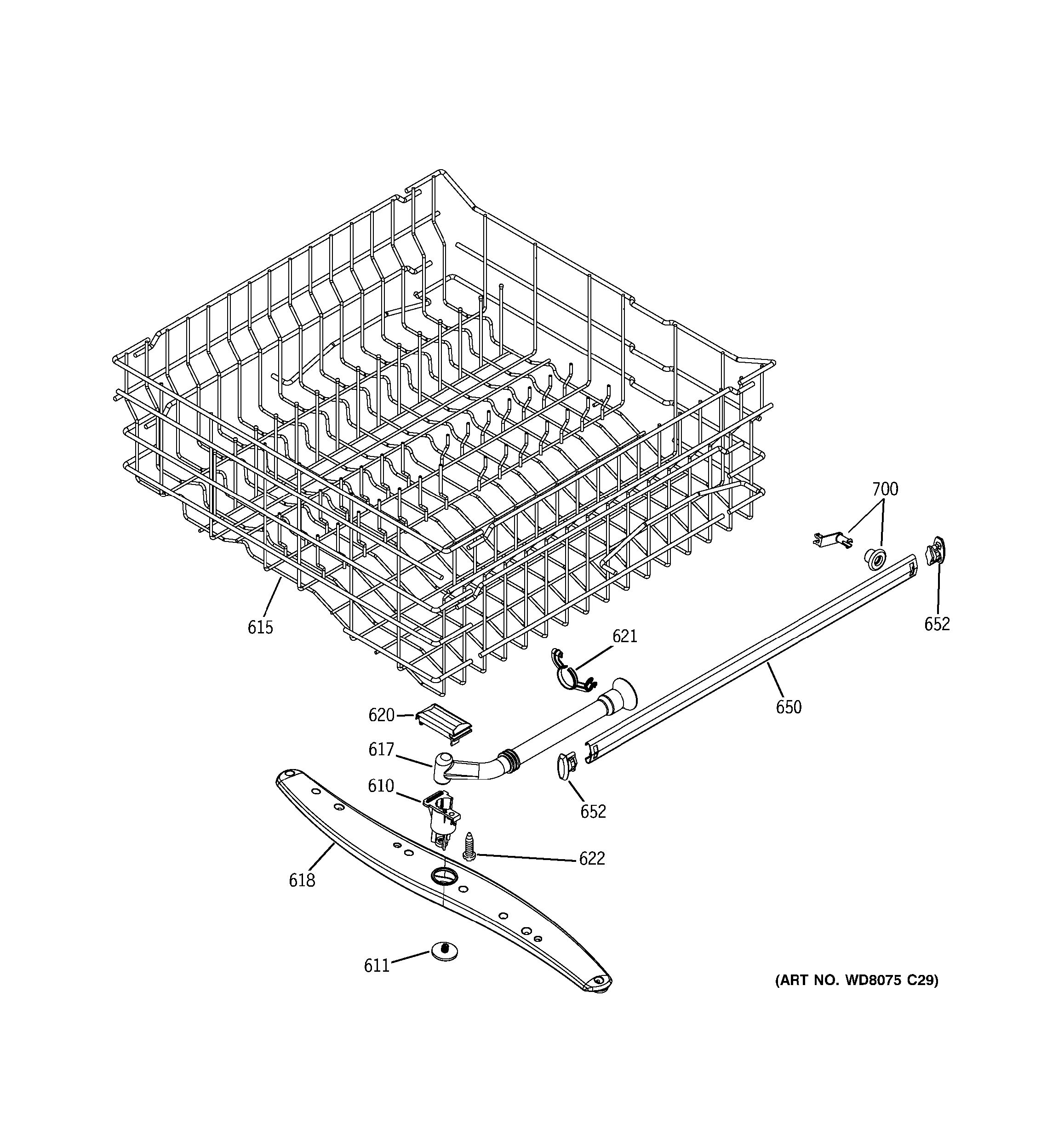 Assembly View For Upper Rack Assembly Gld2800t10bb