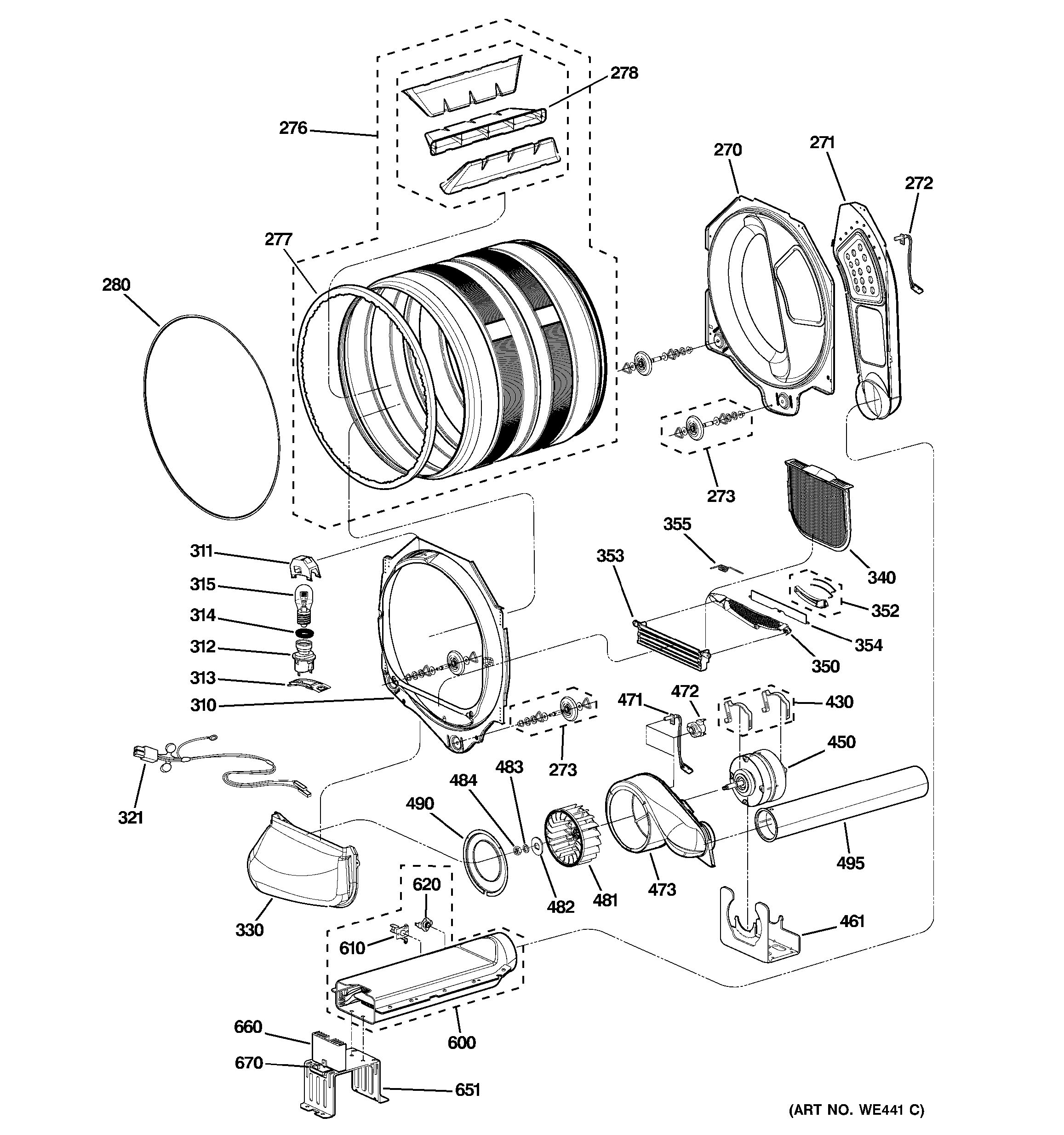 assembly view for drum  blower  u0026 motor