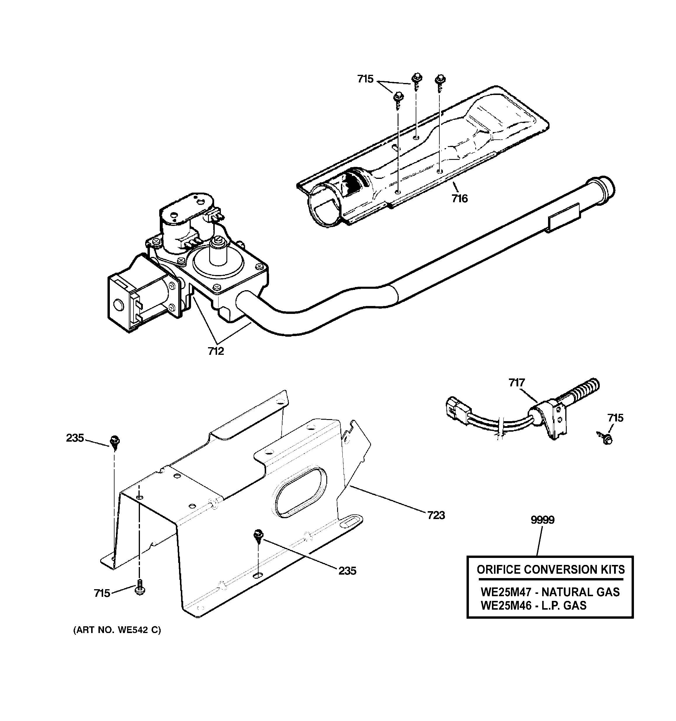 assembly view for gas valve  u0026 burner assembly