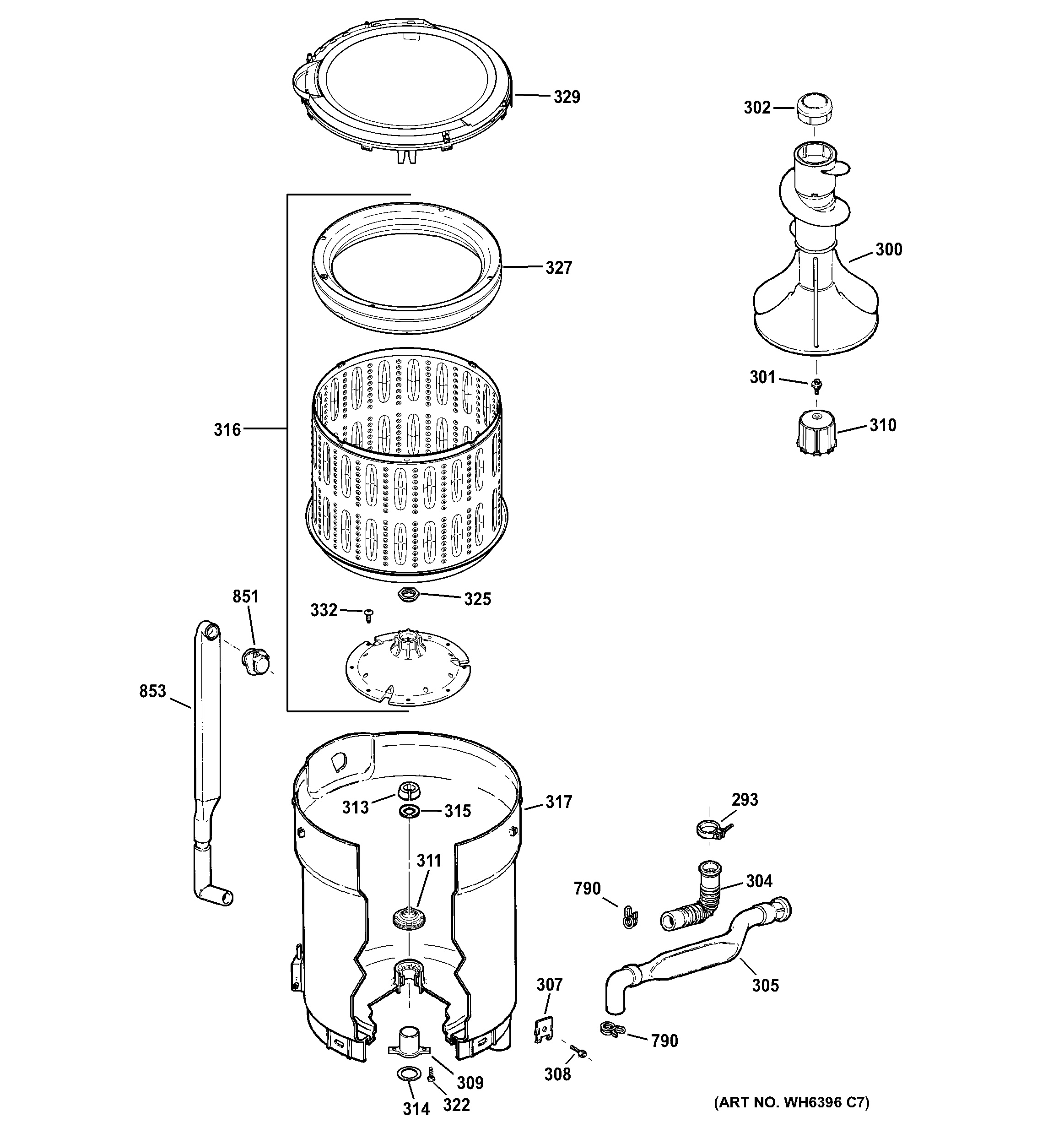 Assembly View For Tub  Basket  U0026 Agitator