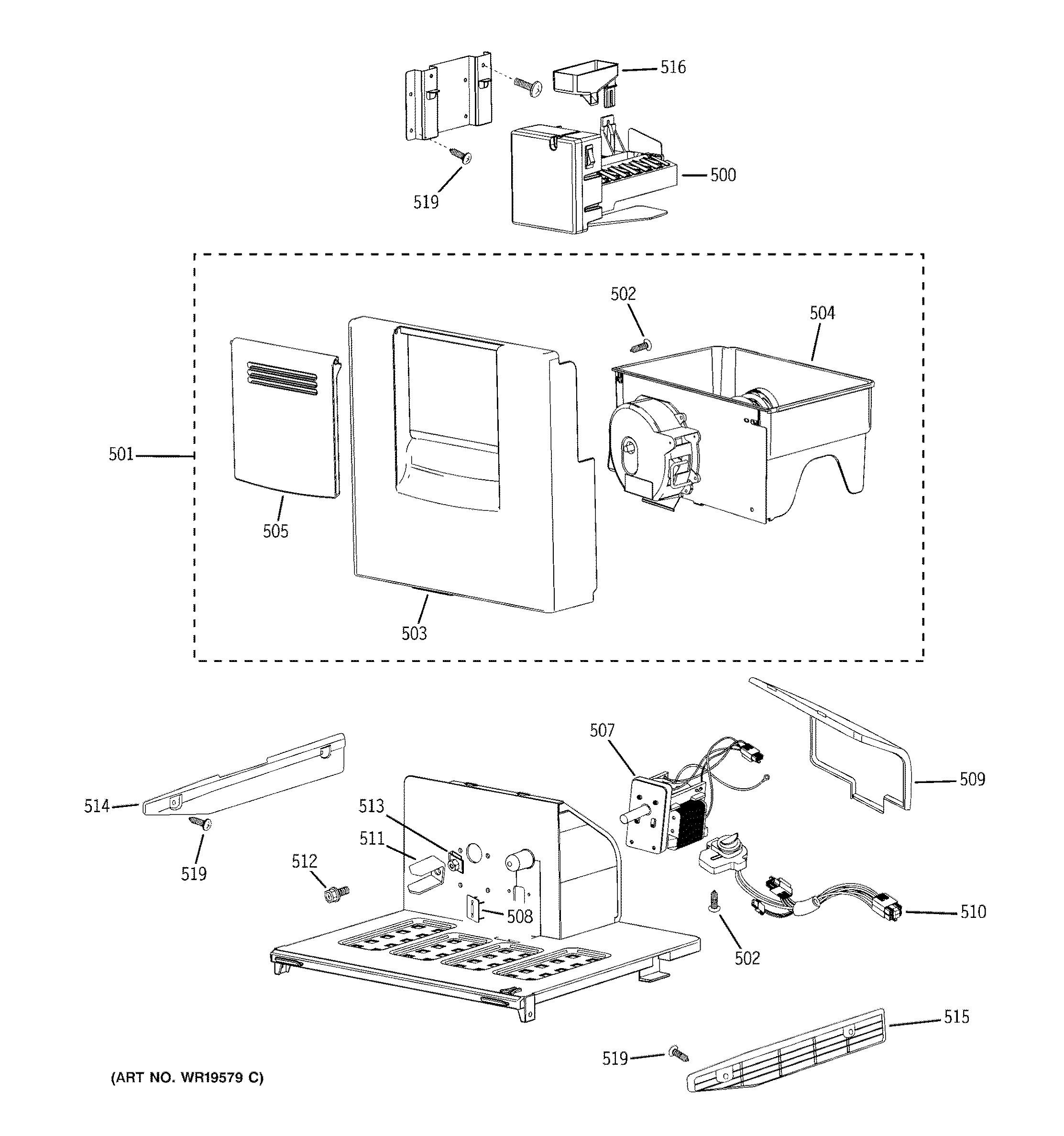 assembly view for ice maker  u0026 dispenser