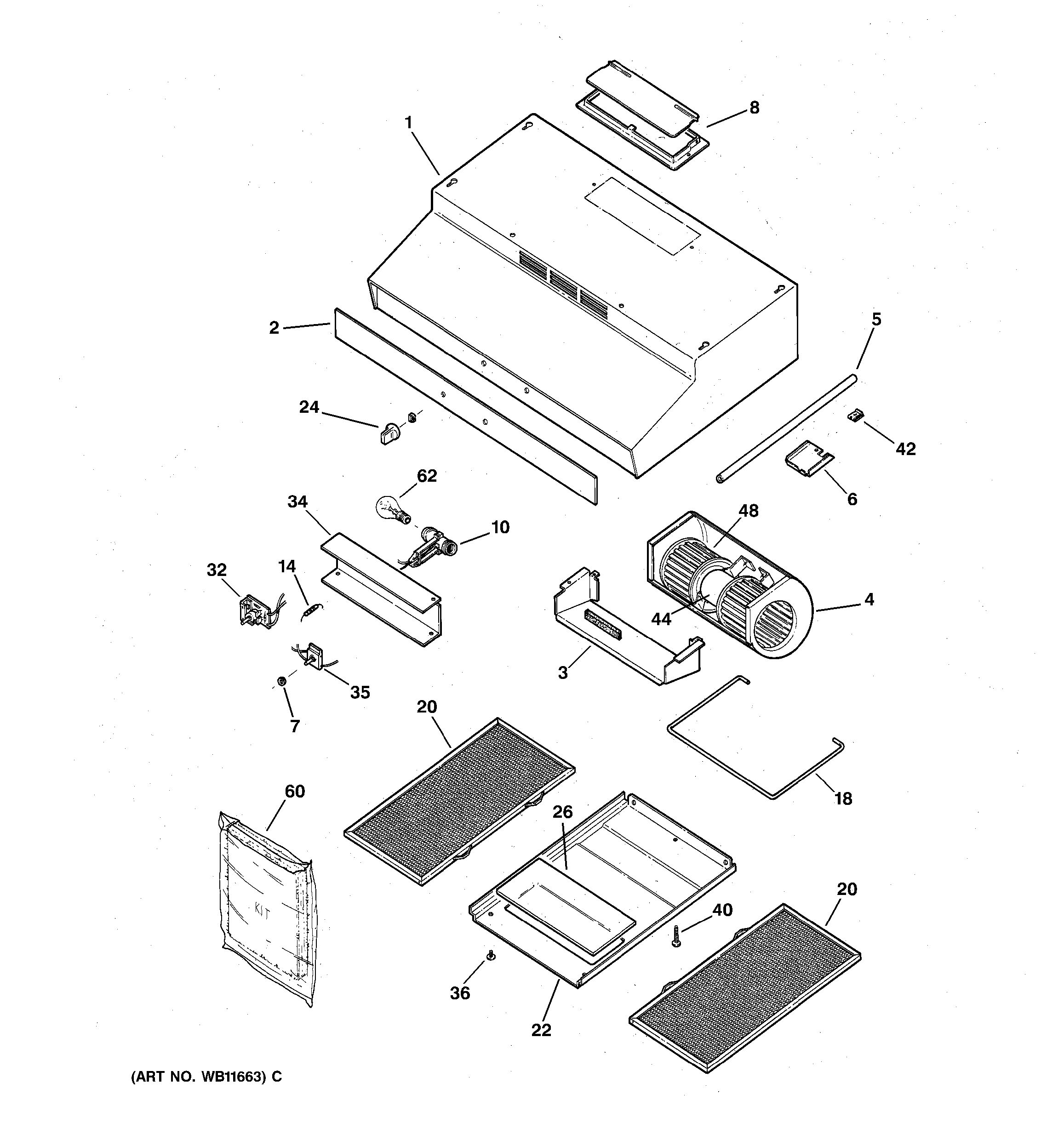 assembly view for range hood parts