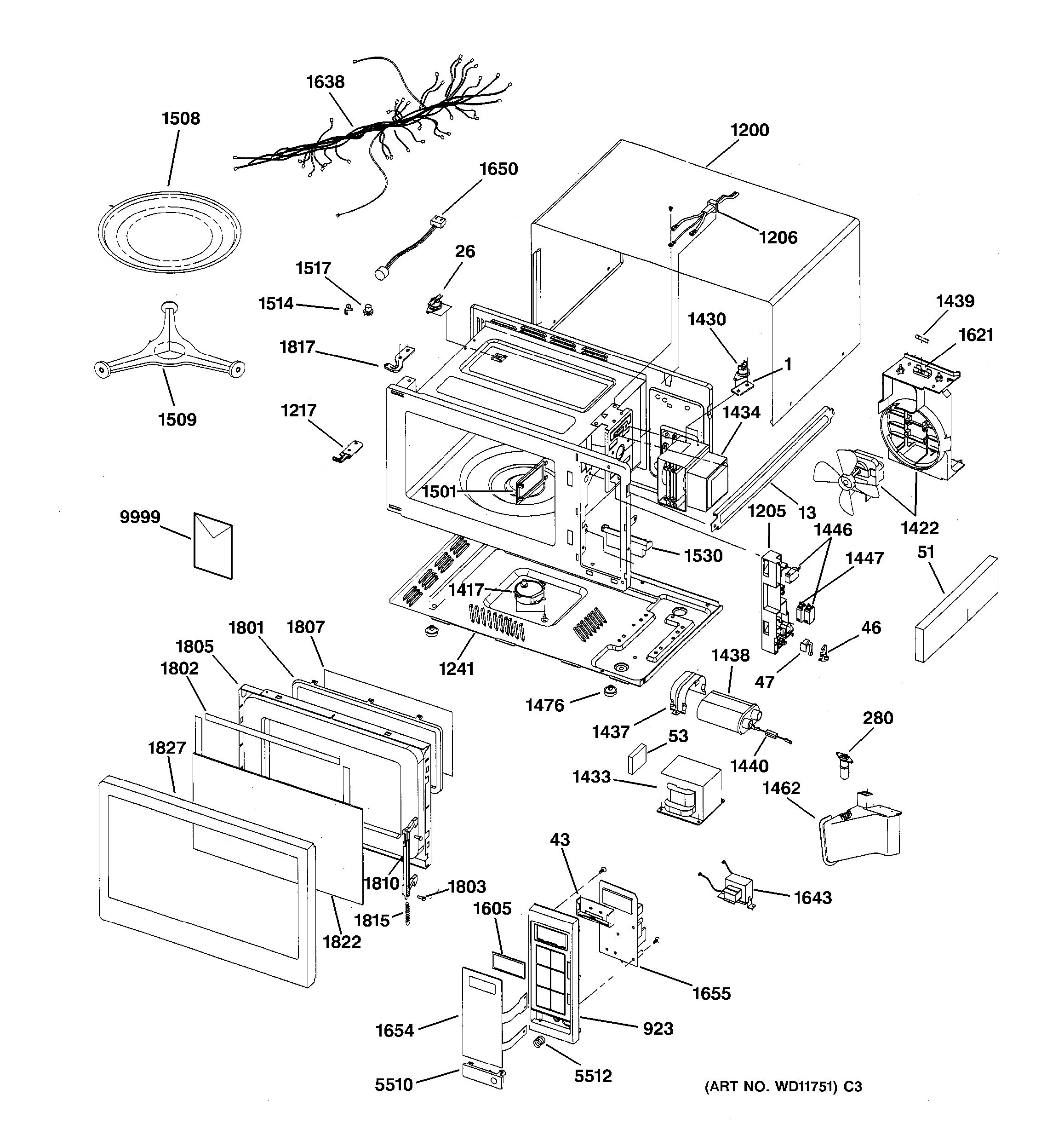 Assembly View For Microwave Parts