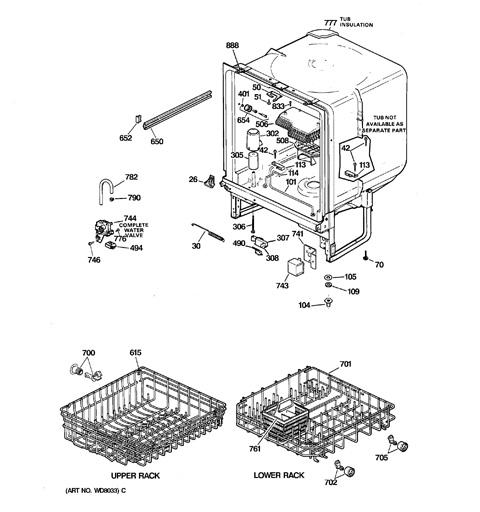 ge potscrubber dishwasher parts