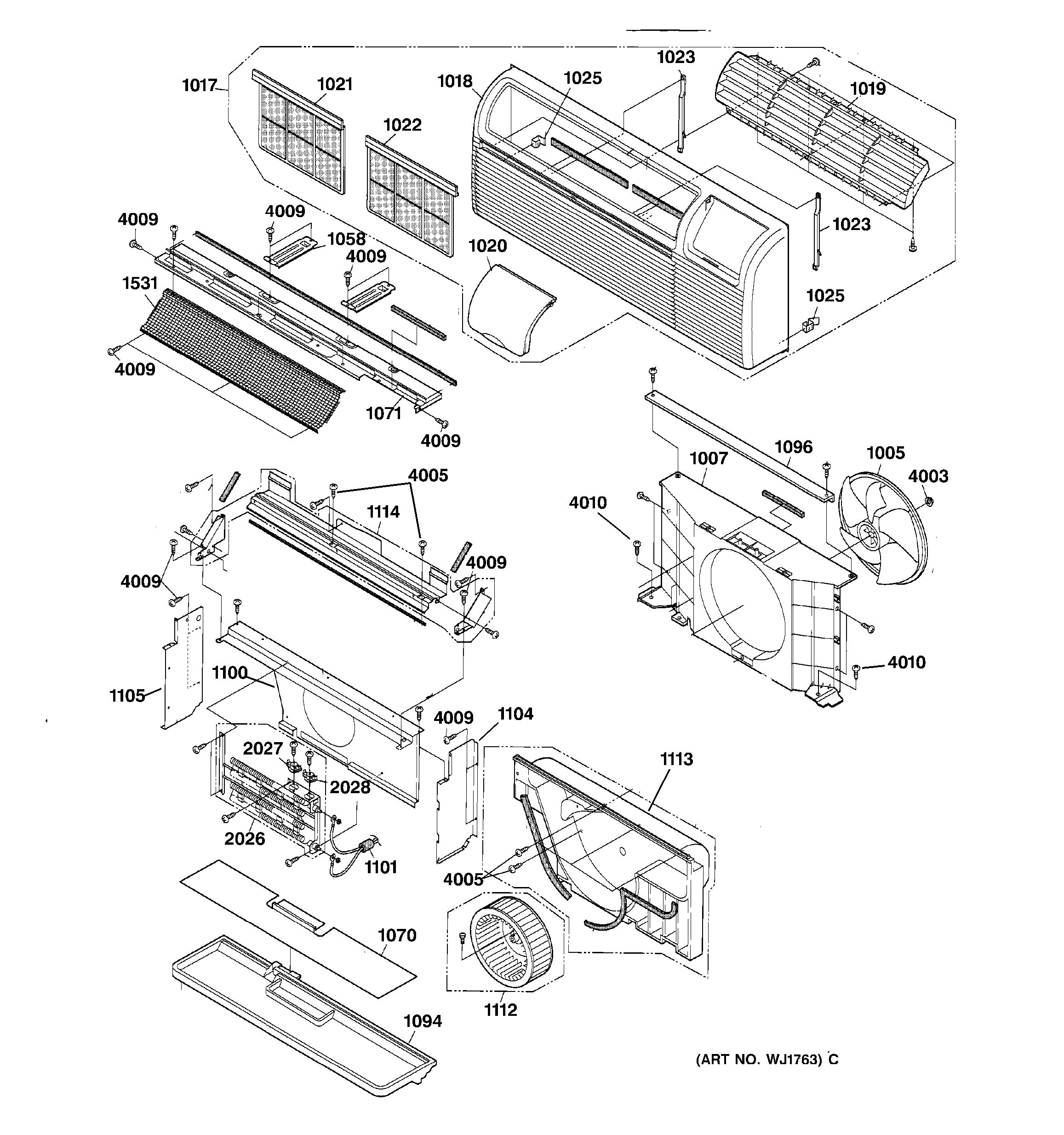 Assembly View For Grille And Air Moving Parts