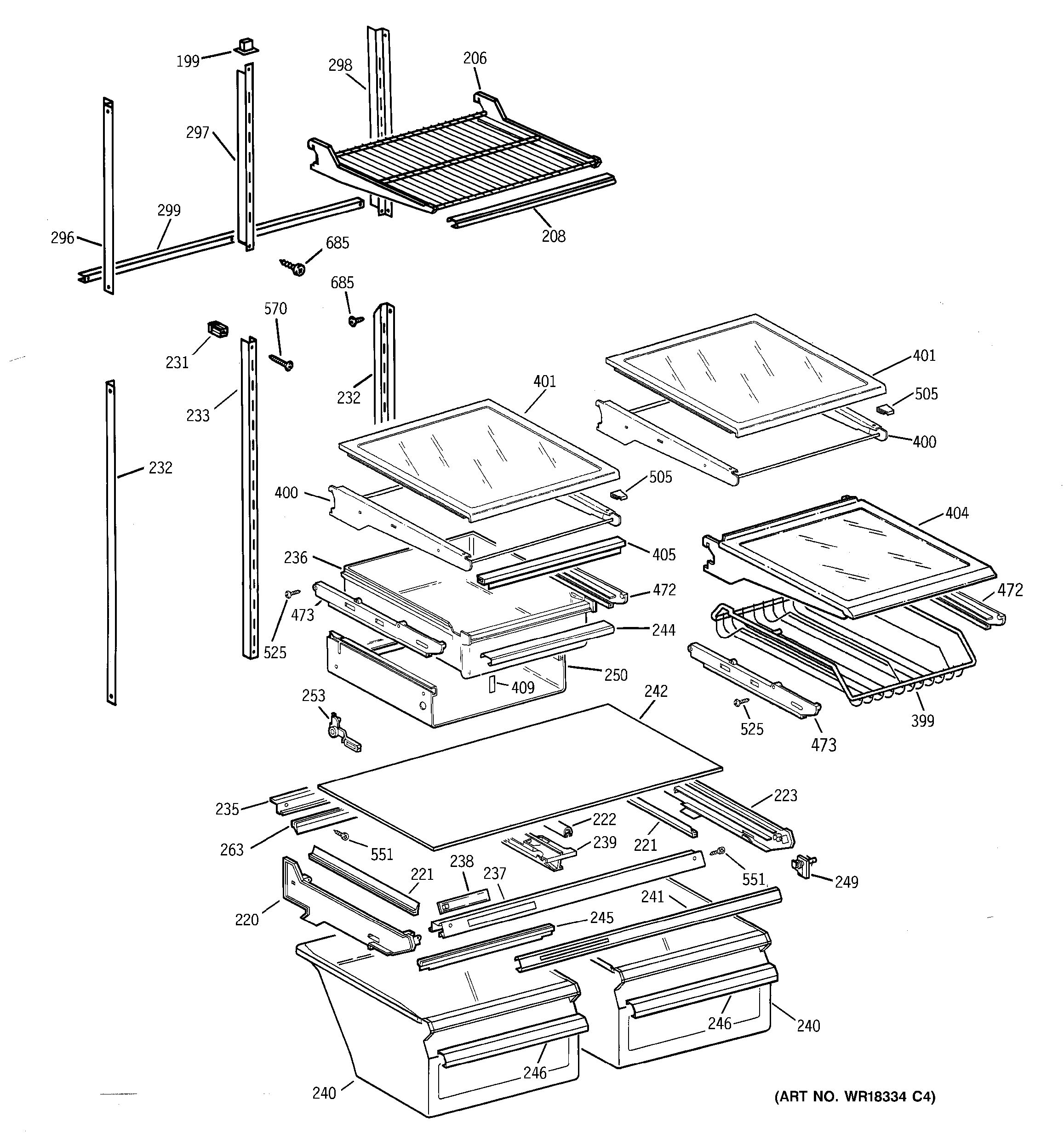 assembly view for shelf parts