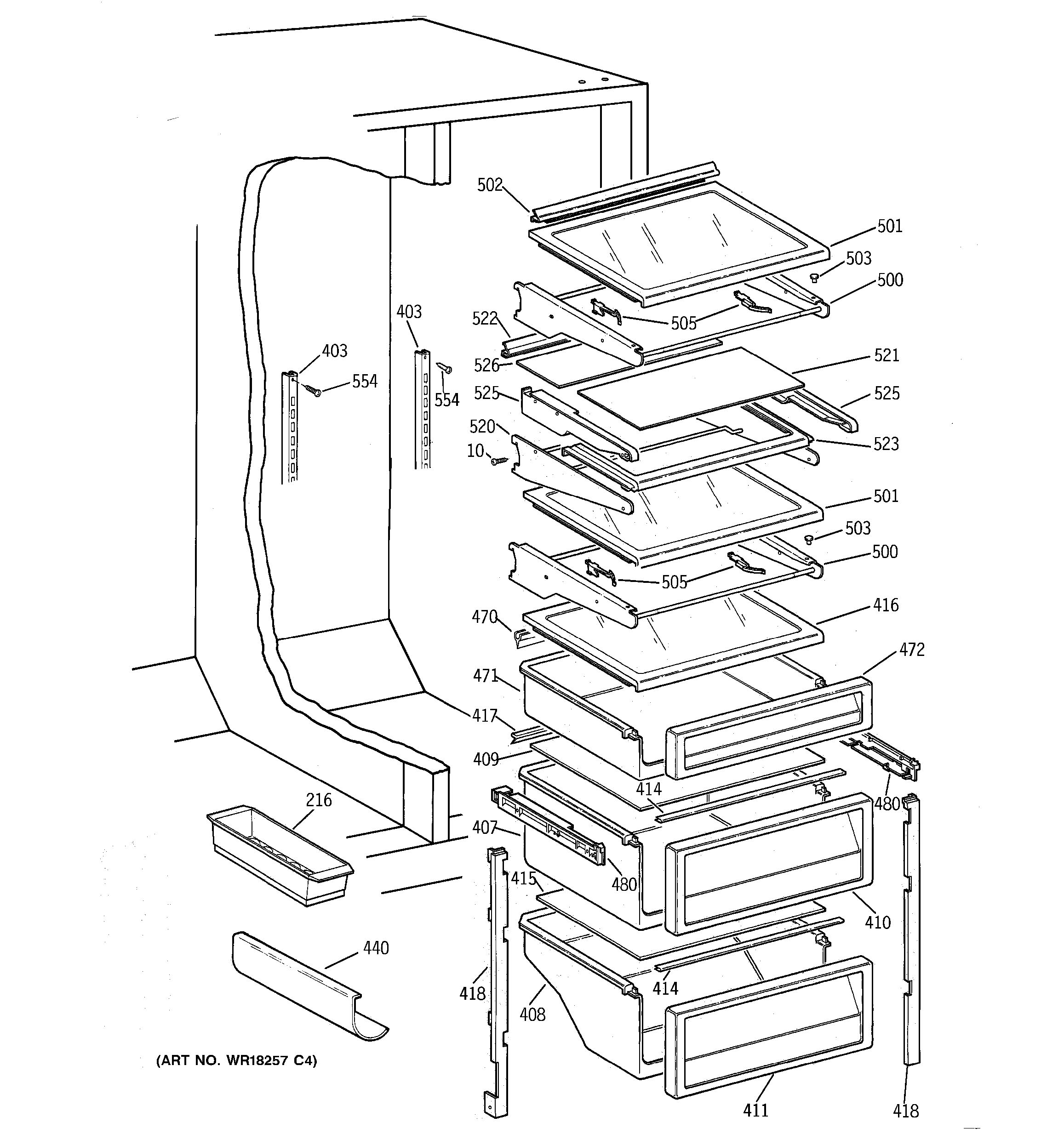 Whirlpool Refrigerator Diagram Parts Question About Wiring Conquest Assembly View For Fresh Food Shelves Tpx21prdabb