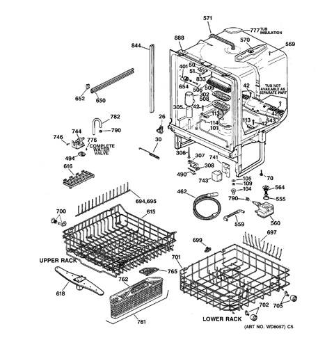 35 Ge Profile Dishwasher Parts Diagram