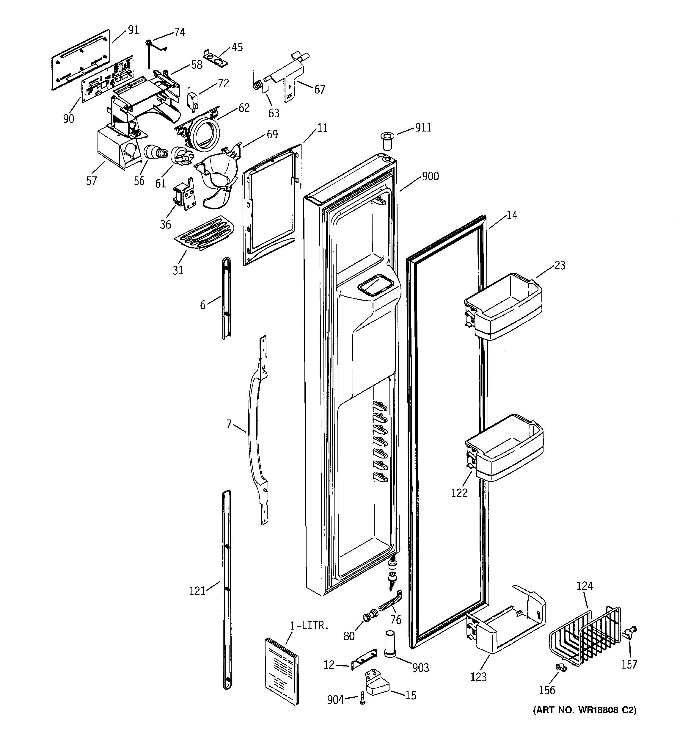 Assembly View For Freezer Door Gss25lgmacc