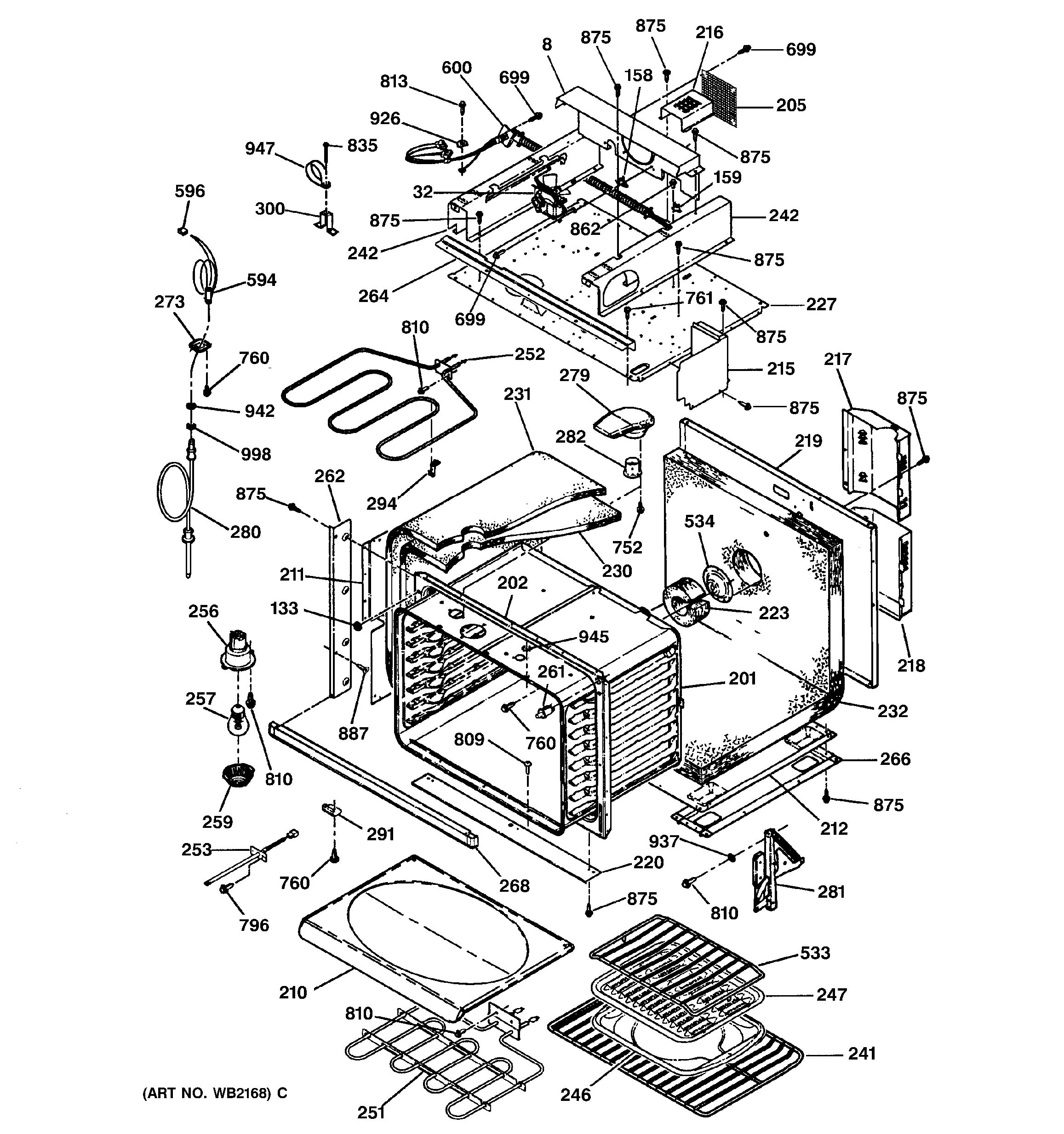 Assembly View For Oven Body Parts