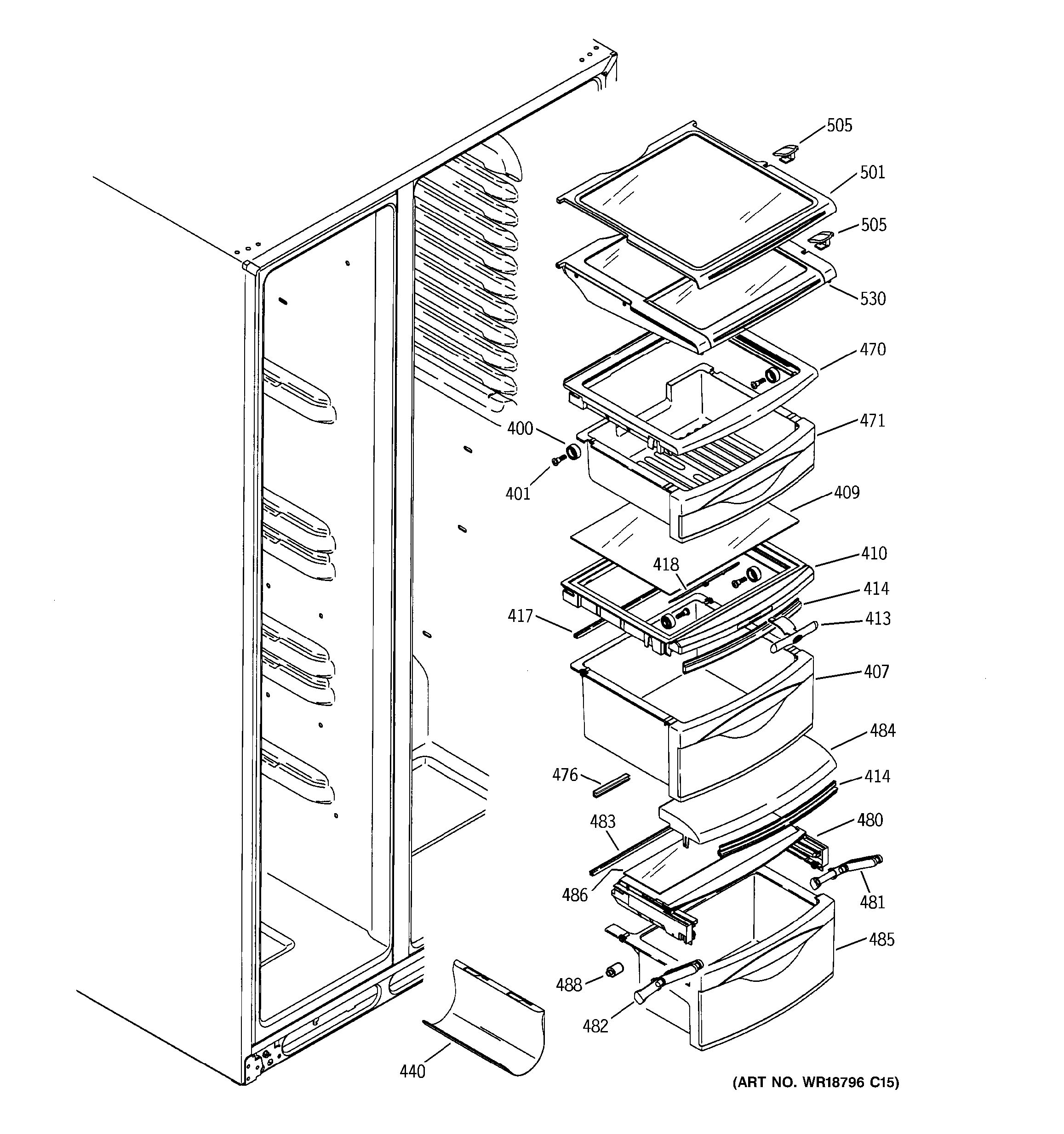assembly view for fresh food shelves psc23mgnabb. Black Bedroom Furniture Sets. Home Design Ideas