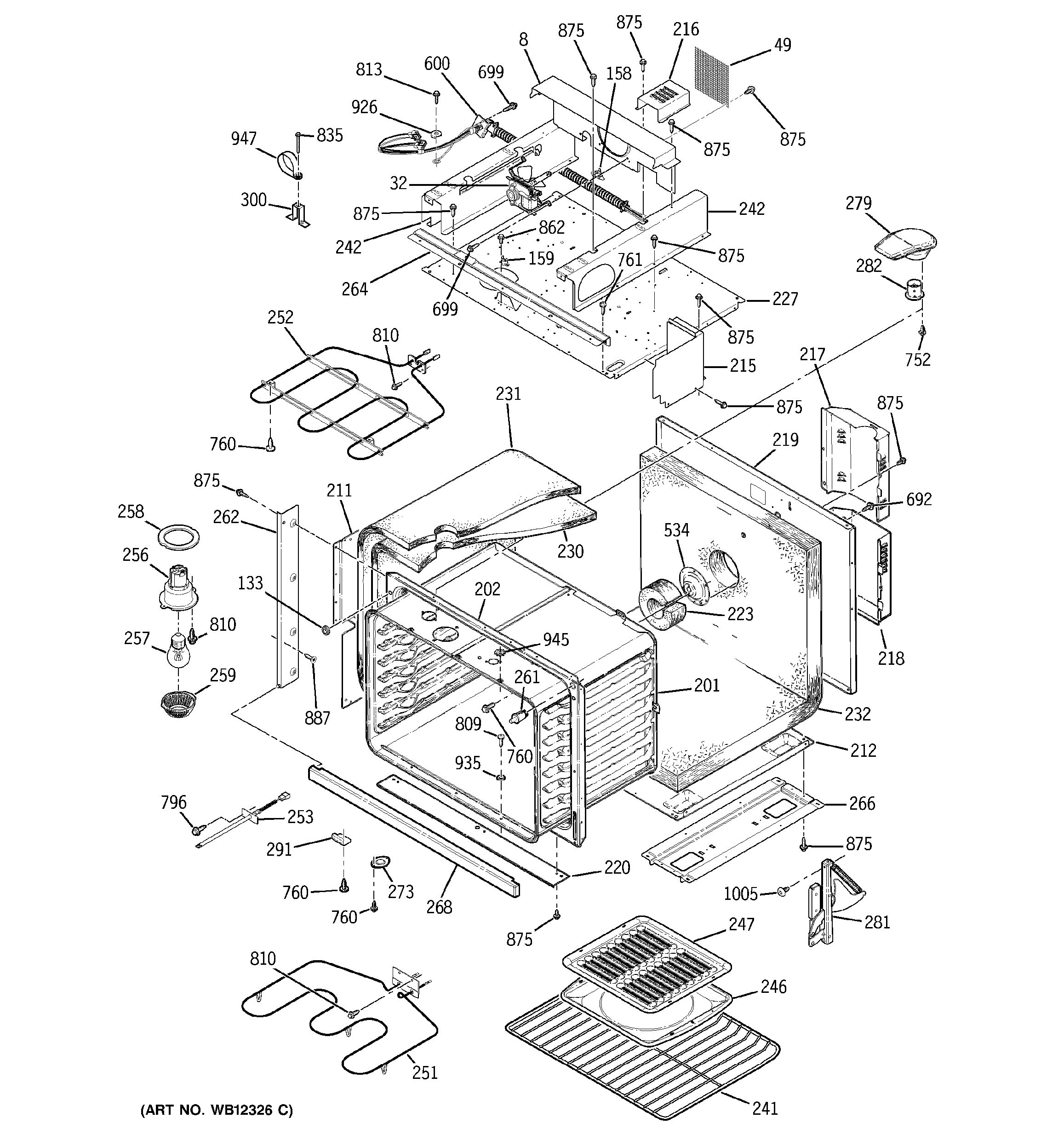 Assembly View For Body With Microwave Support Jtp85bd1bb