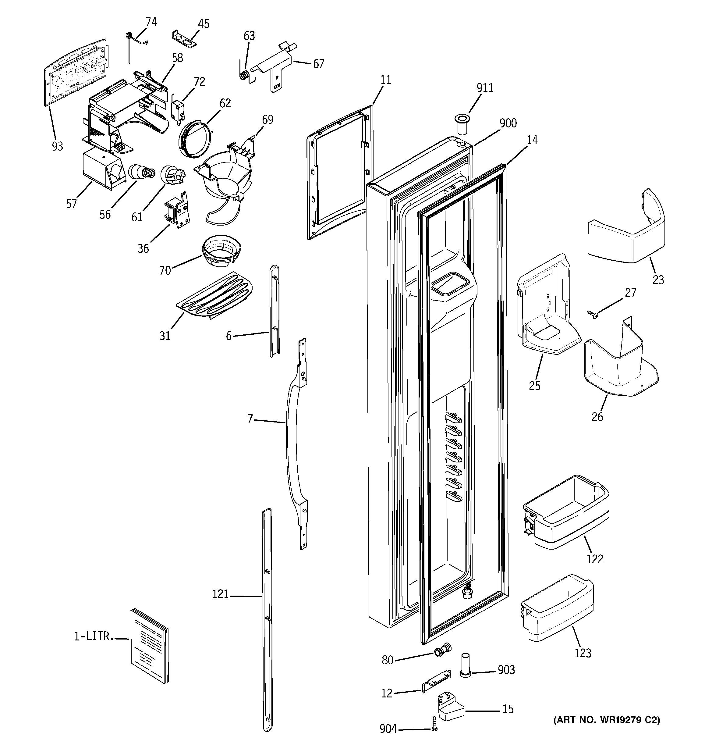 Assembly View For Freezer Door Gss25tgpaww