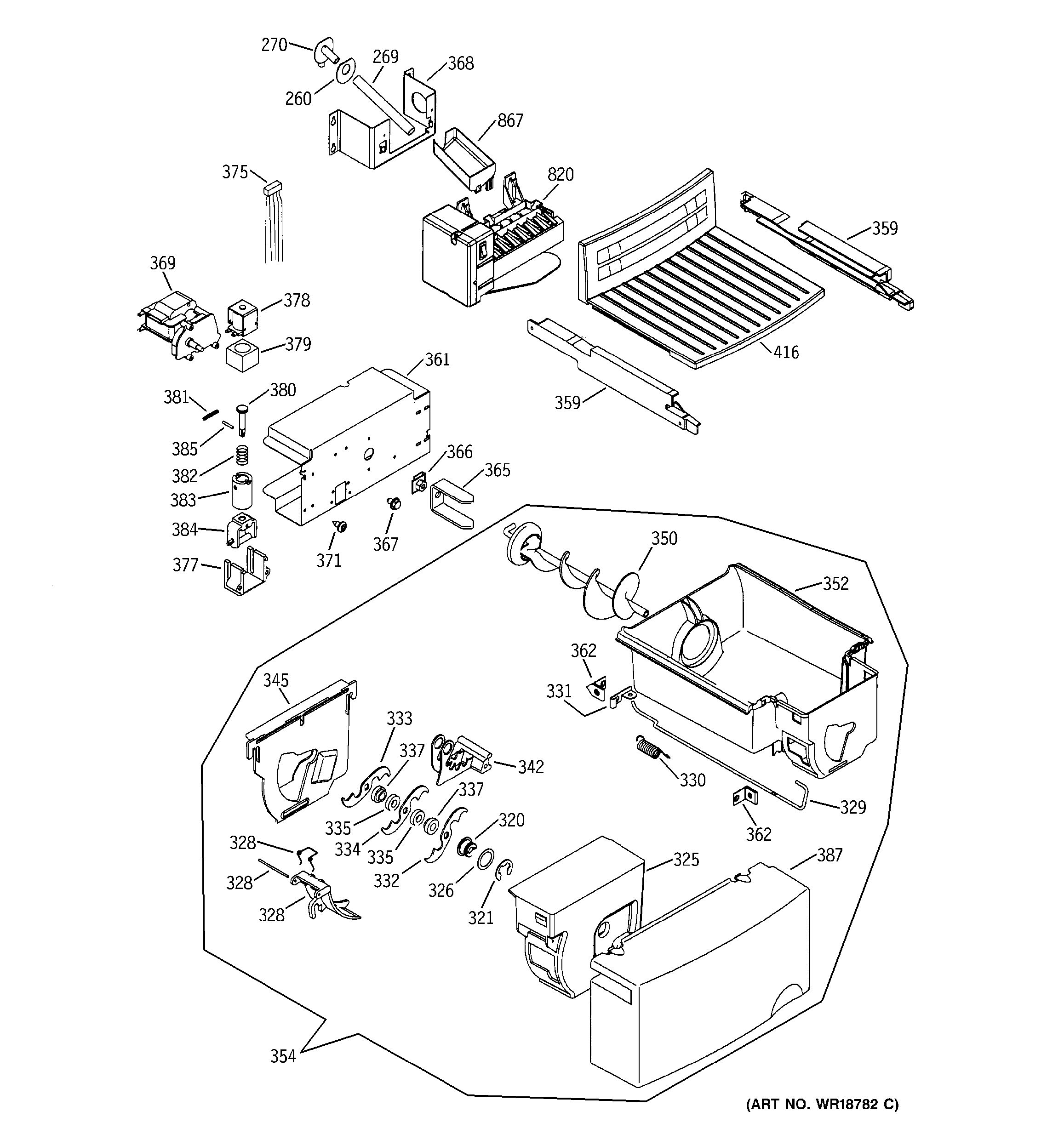 Assembly View For Ice Maker  U0026 Dispenser