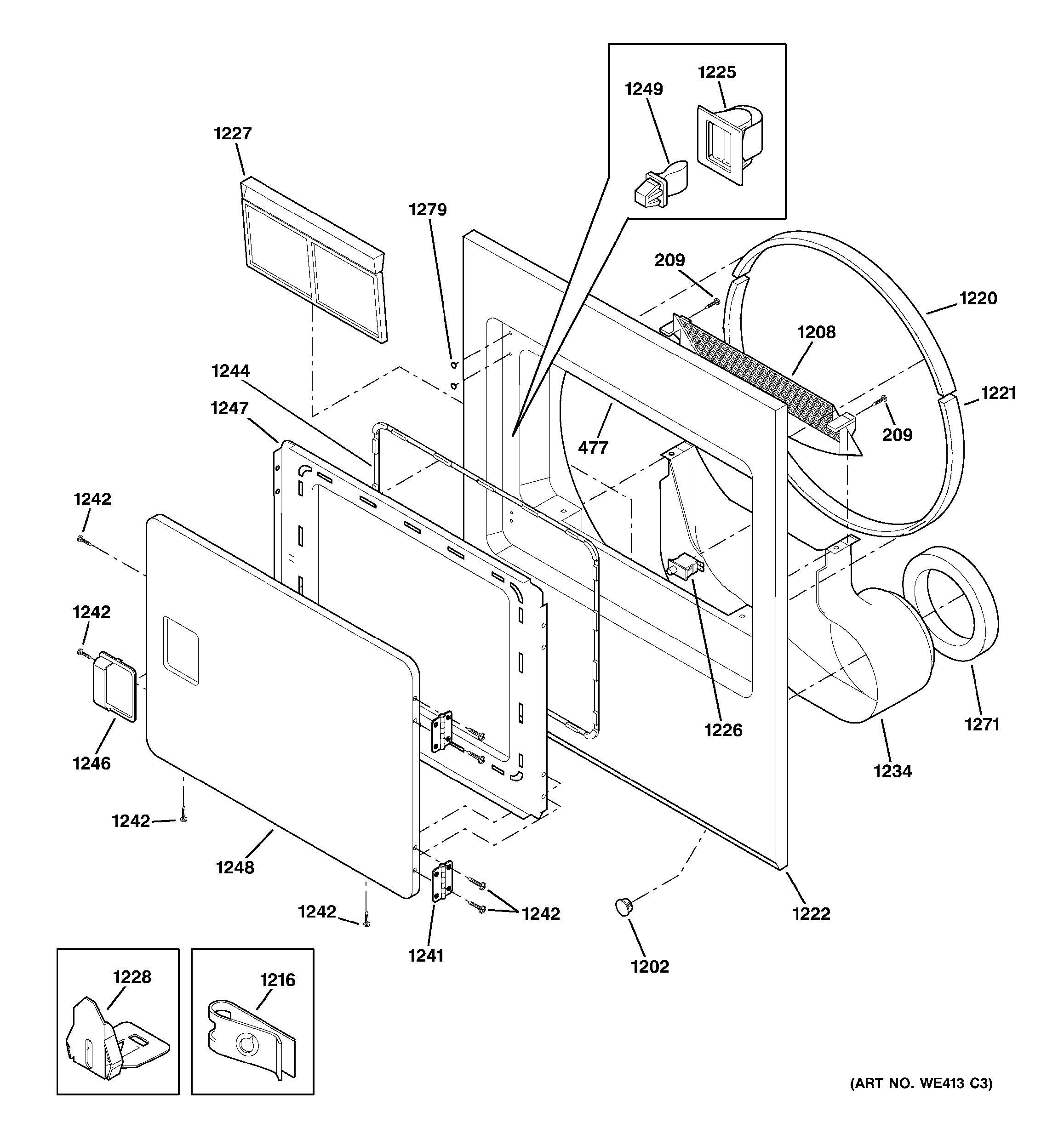 assembly view for front panel  u0026 door