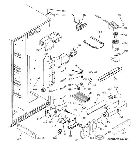 ge side by refrigerator parts manual