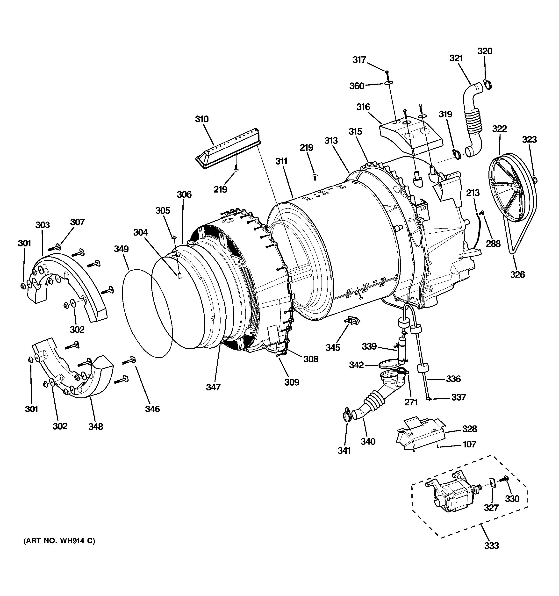 Assembly View For Tub Amp Motor Wbvh5300k0ww