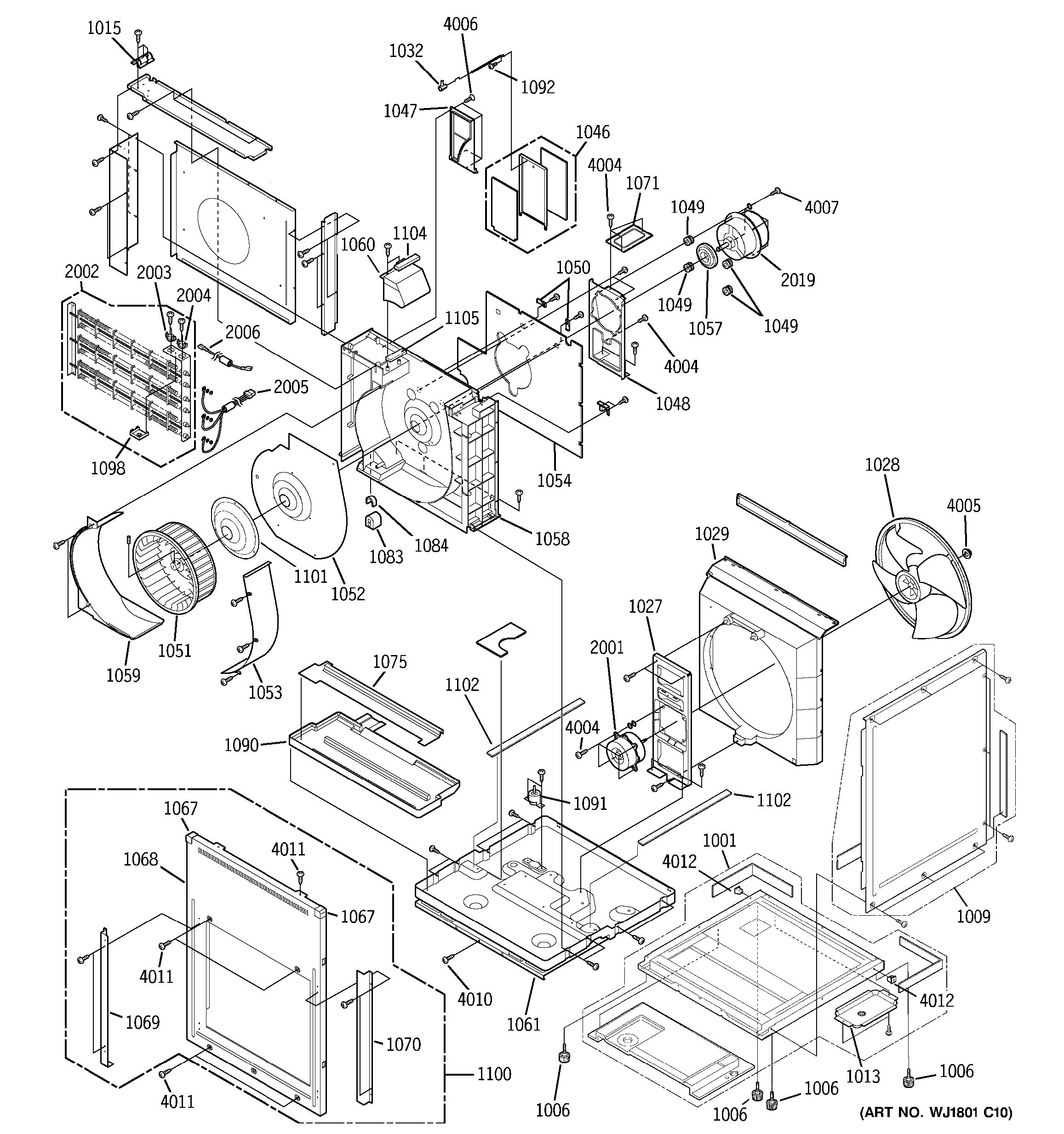 Assembly View For Motor  Heater  U0026 Base Pan Parts