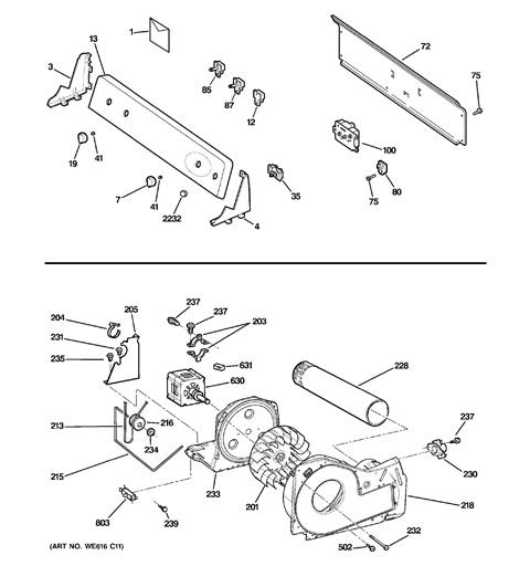 backsplash, blower & motor assembly