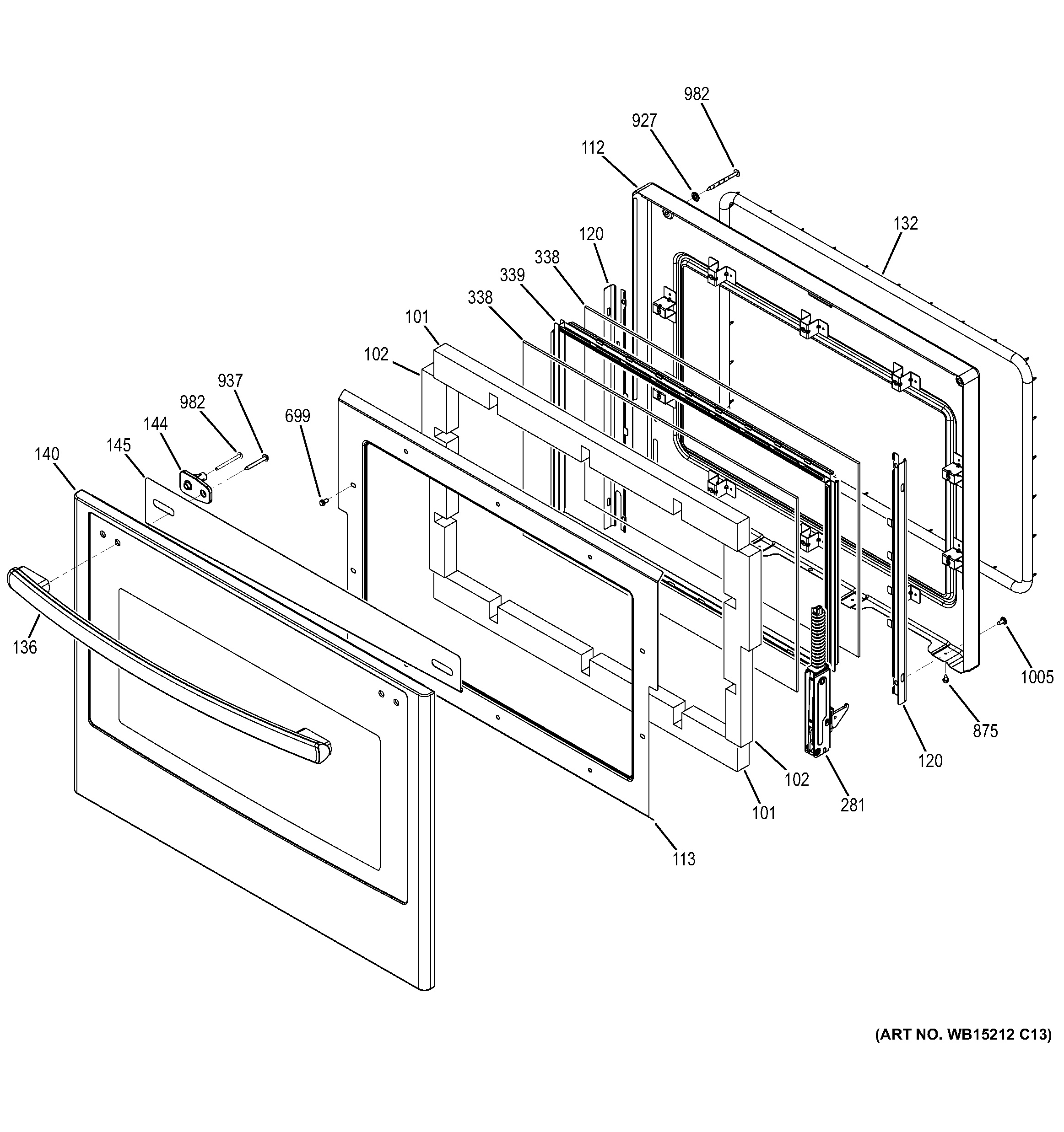 assembly view for door