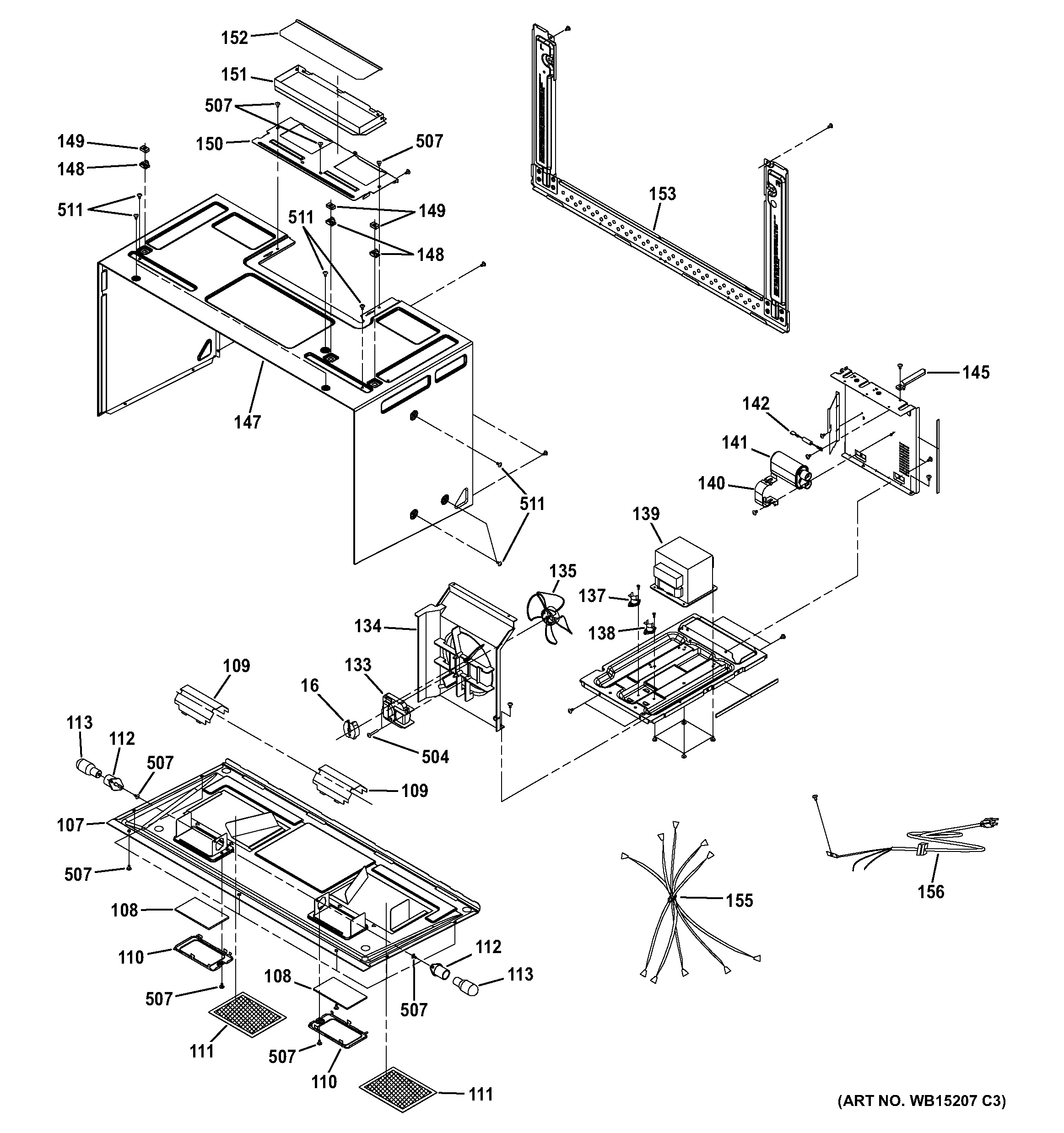 assembly view for interior parts