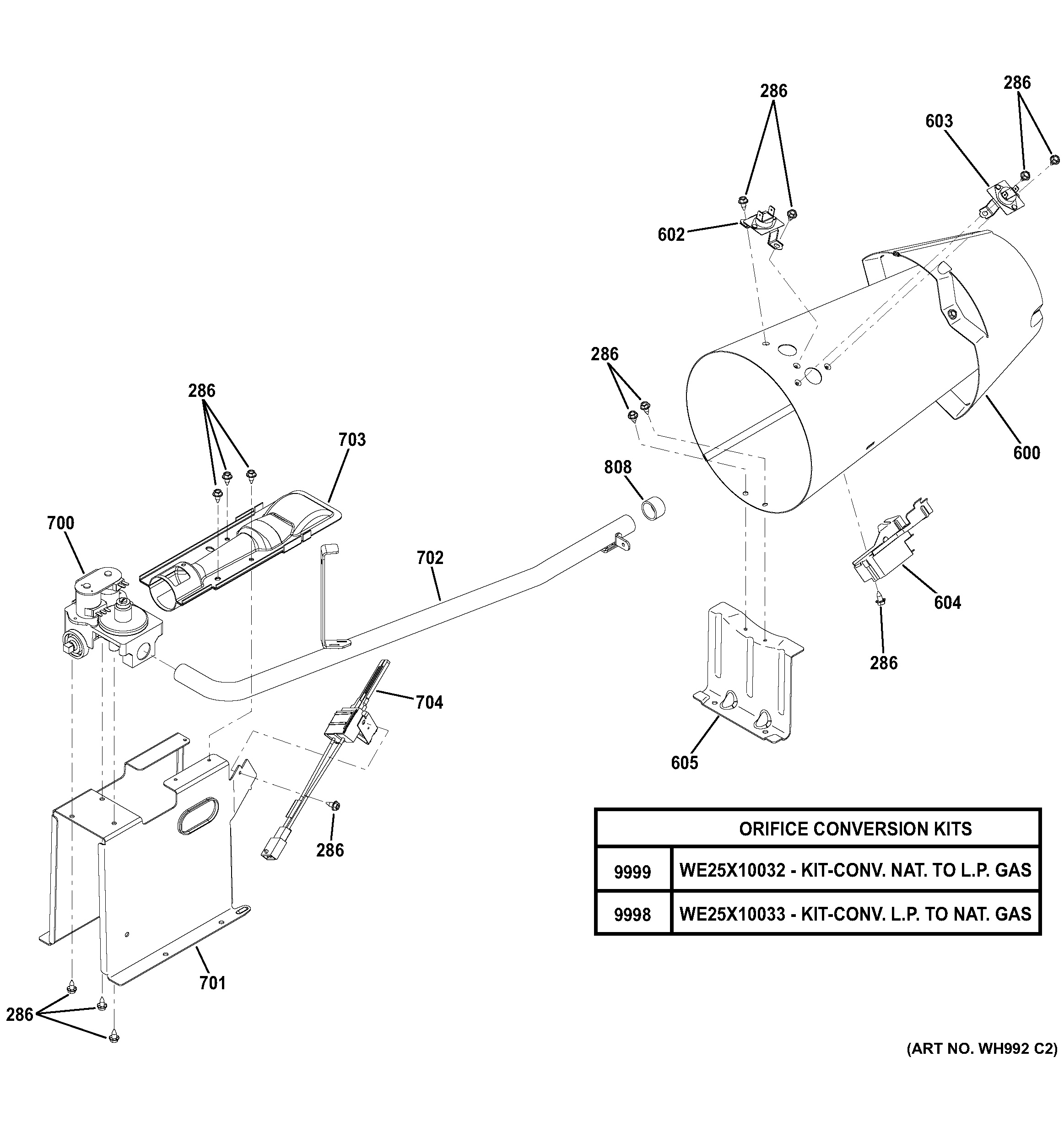 Assembly View For Gas Valve  U0026 Burner Assembly