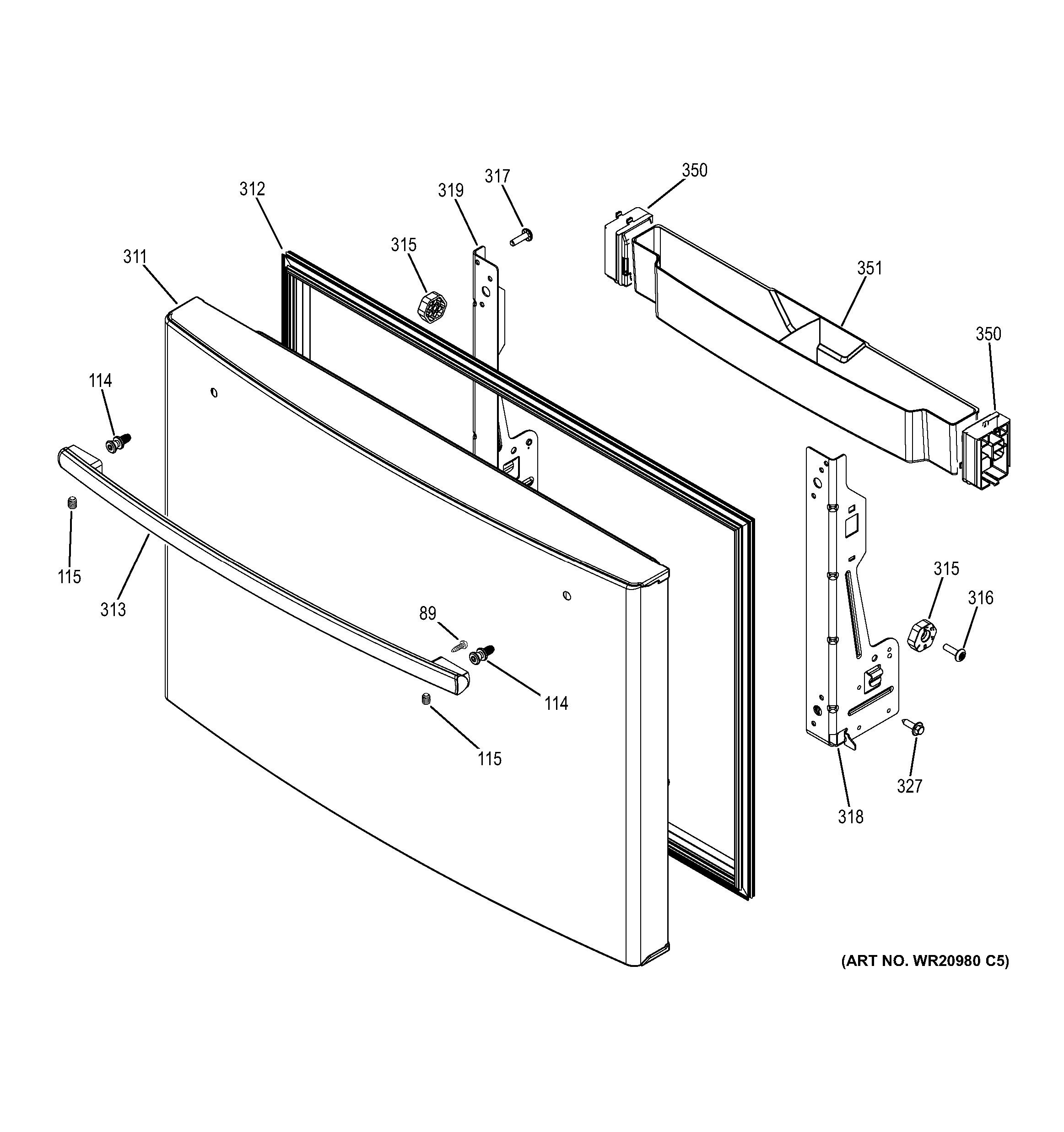 assembly view for freezer door gye22kshhss. Black Bedroom Furniture Sets. Home Design Ideas