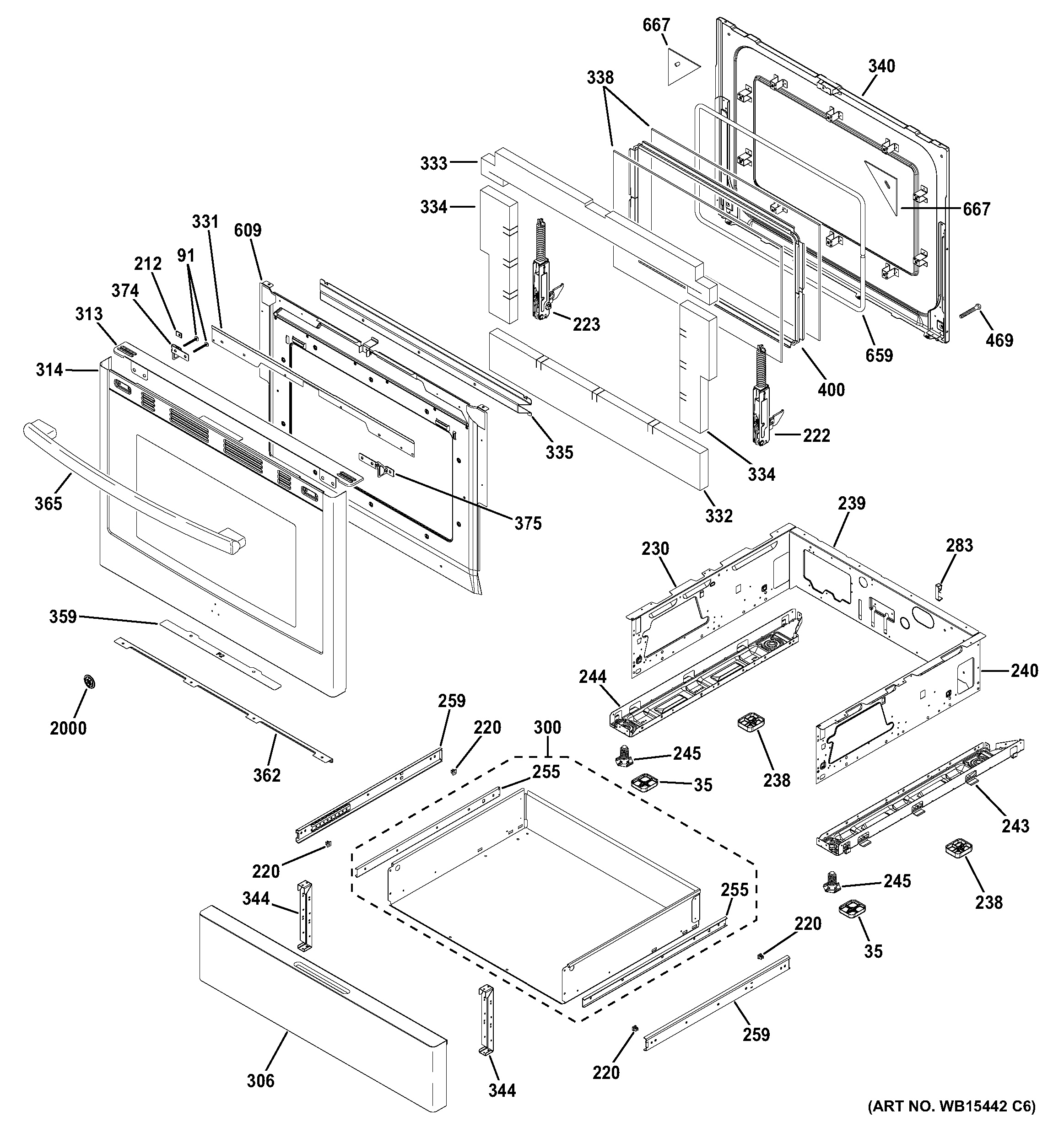 assembly view for door  u0026 drawer parts