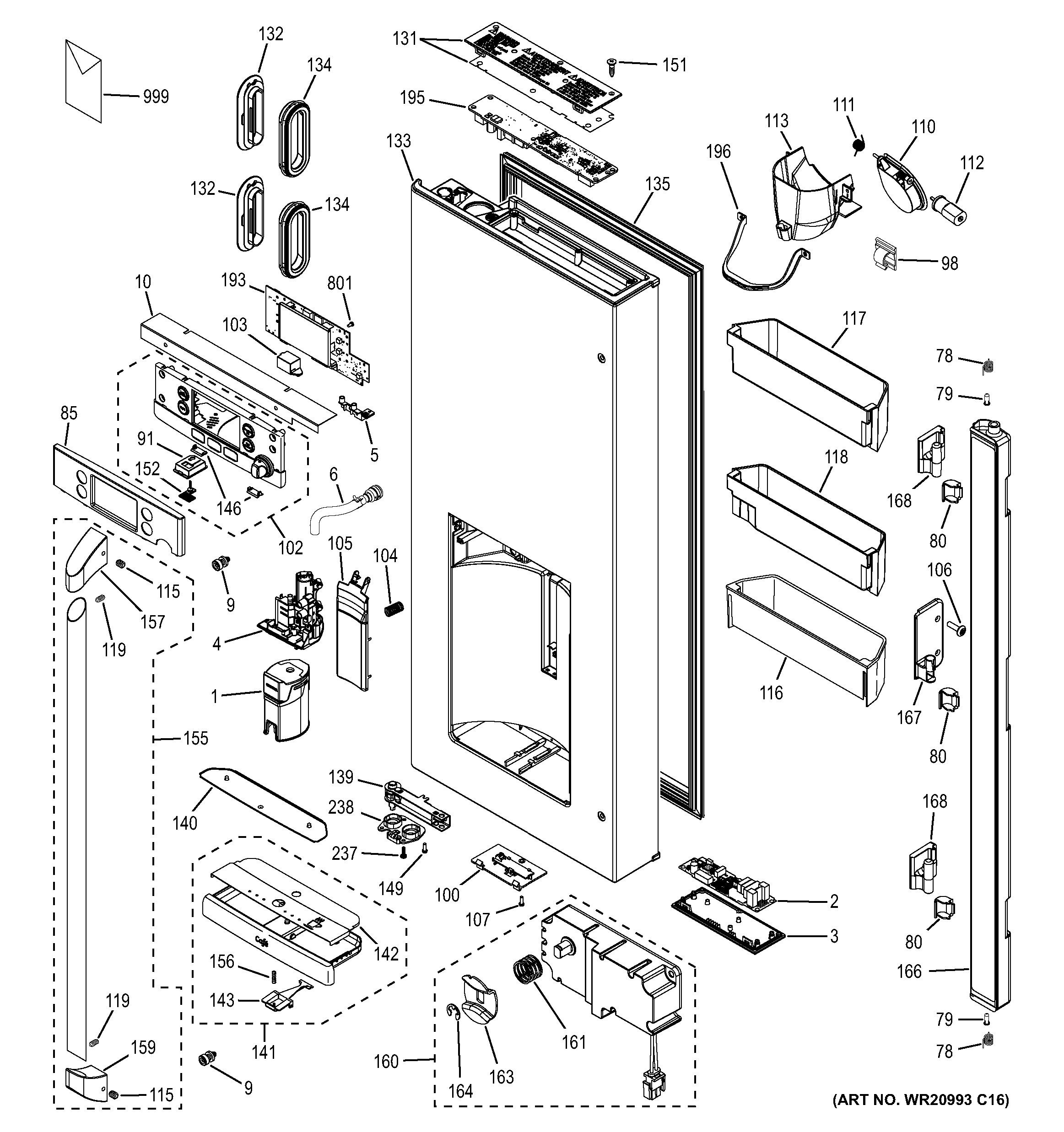Assembly View For Dispenser Door
