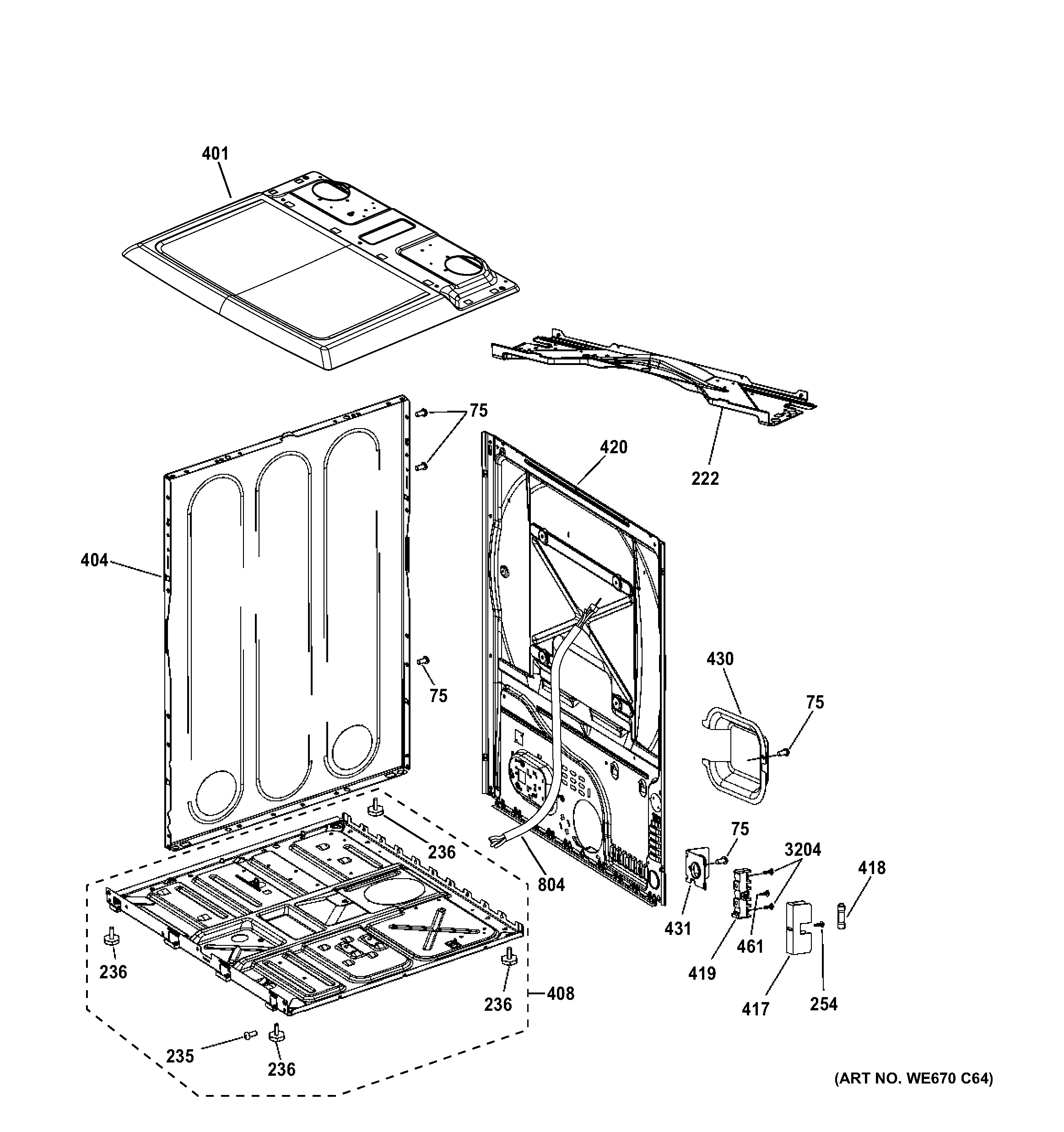 assembly view for cabinet  u0026 top panel