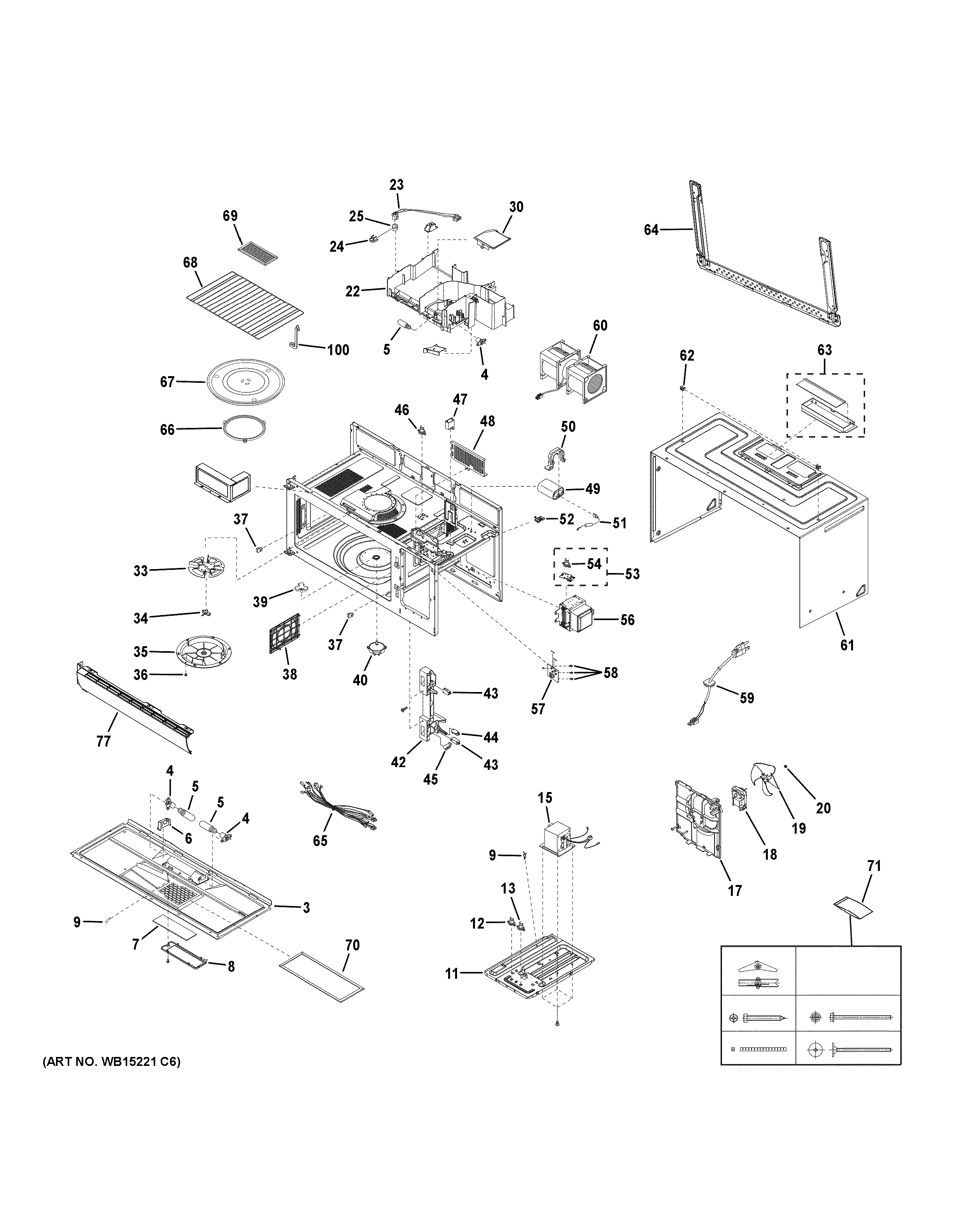 Assembly View For Oven Cavity Parts Jvm6175ef1es