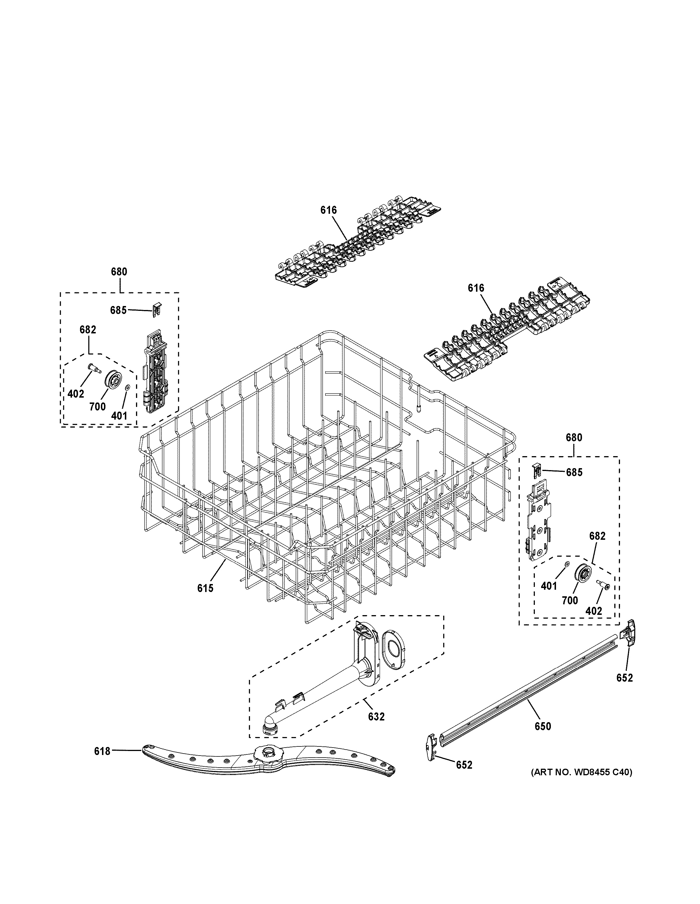 Assembly View For Upper Rack Assembly Gdf540hsd0ss