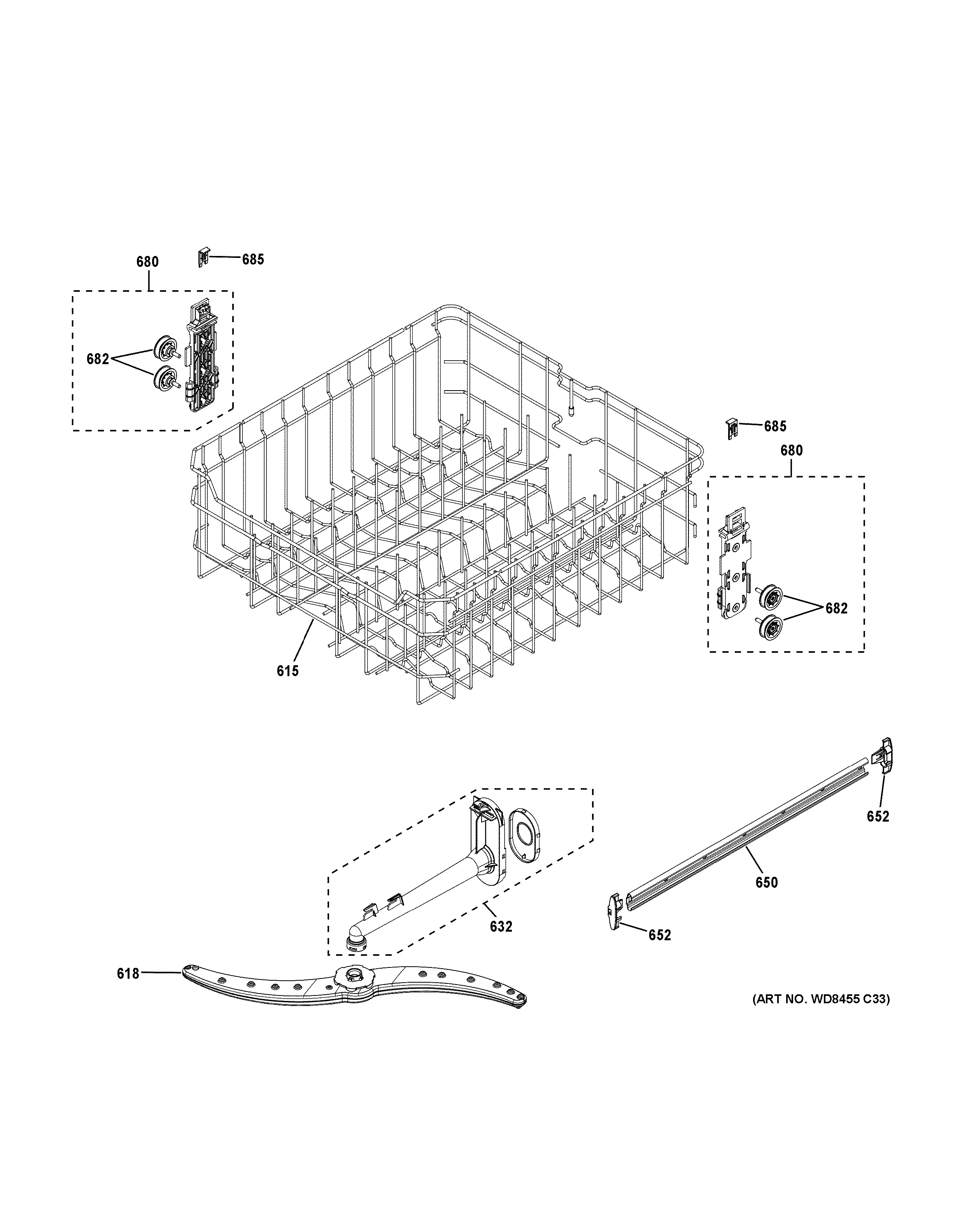 Assembly View For Upper Rack Assembly Gdf510psj0ss