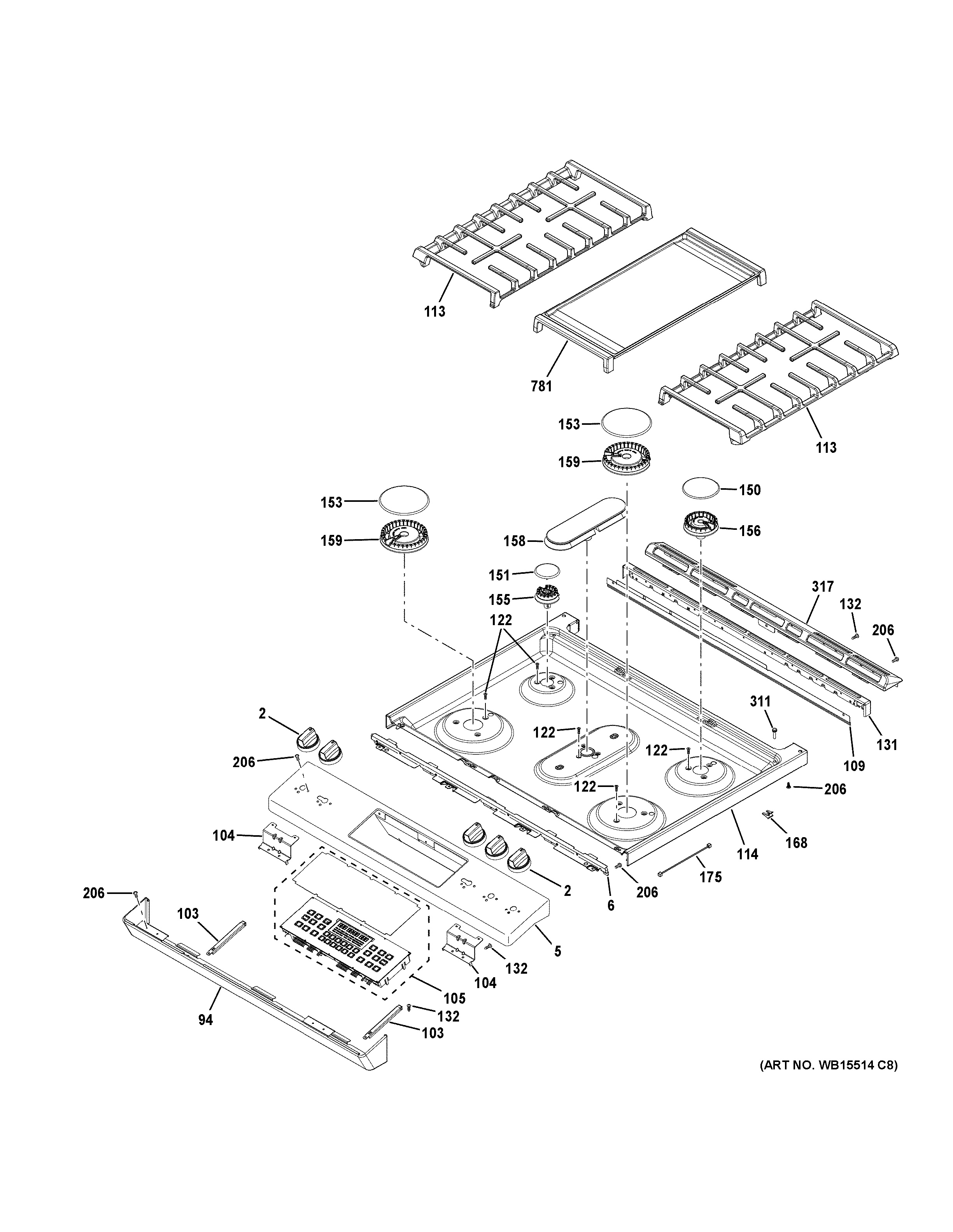 assembly view for control panel  u0026 cooktop