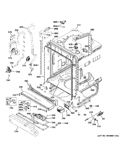 Model Search   GDT655SGJ0BB   Ge Dishwasher Schematic      GE Appliances Parts and Accessories