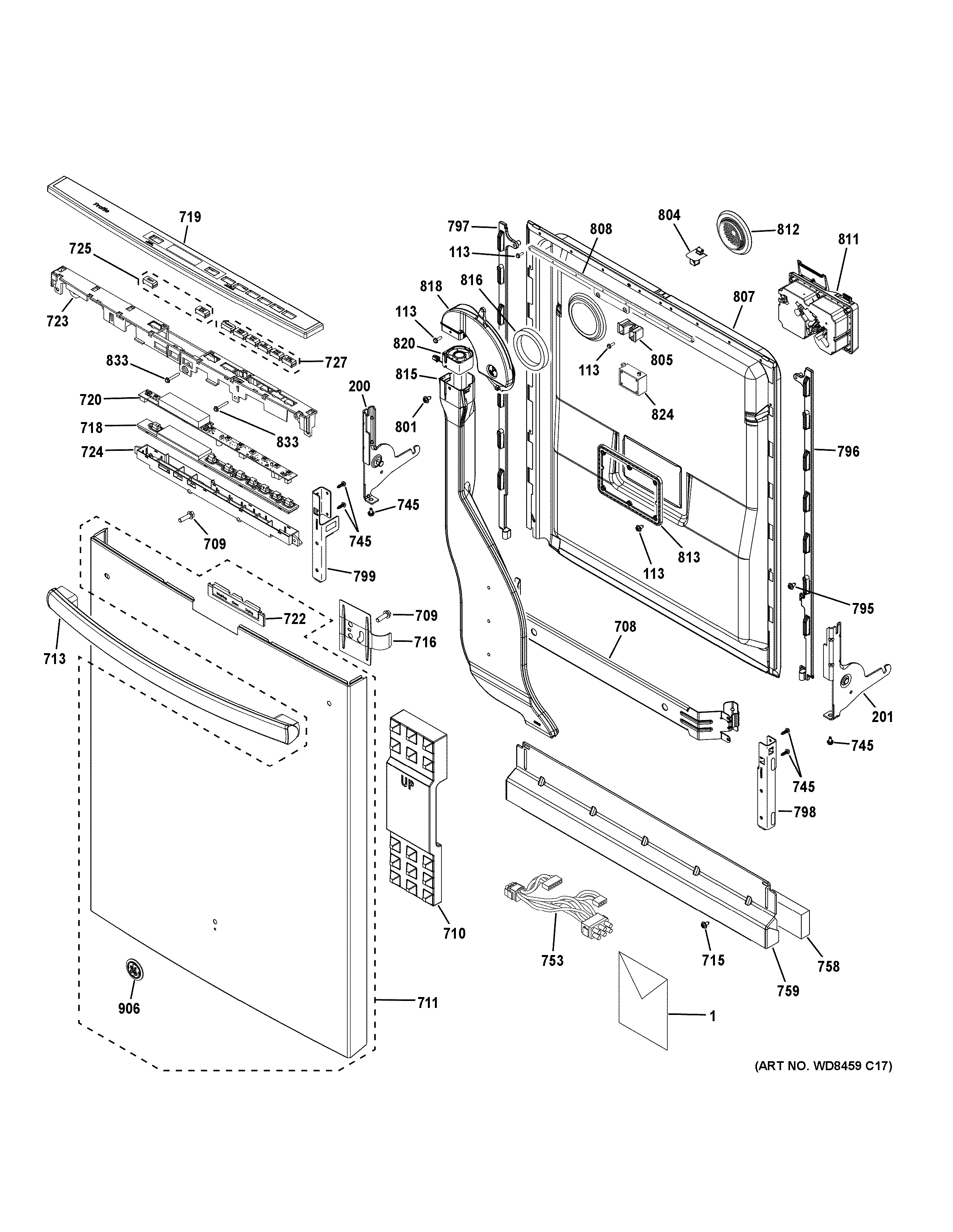 Assembly View for ESCUTCHEON   DOOR ASSEMBLY   PDT750SMF1ES